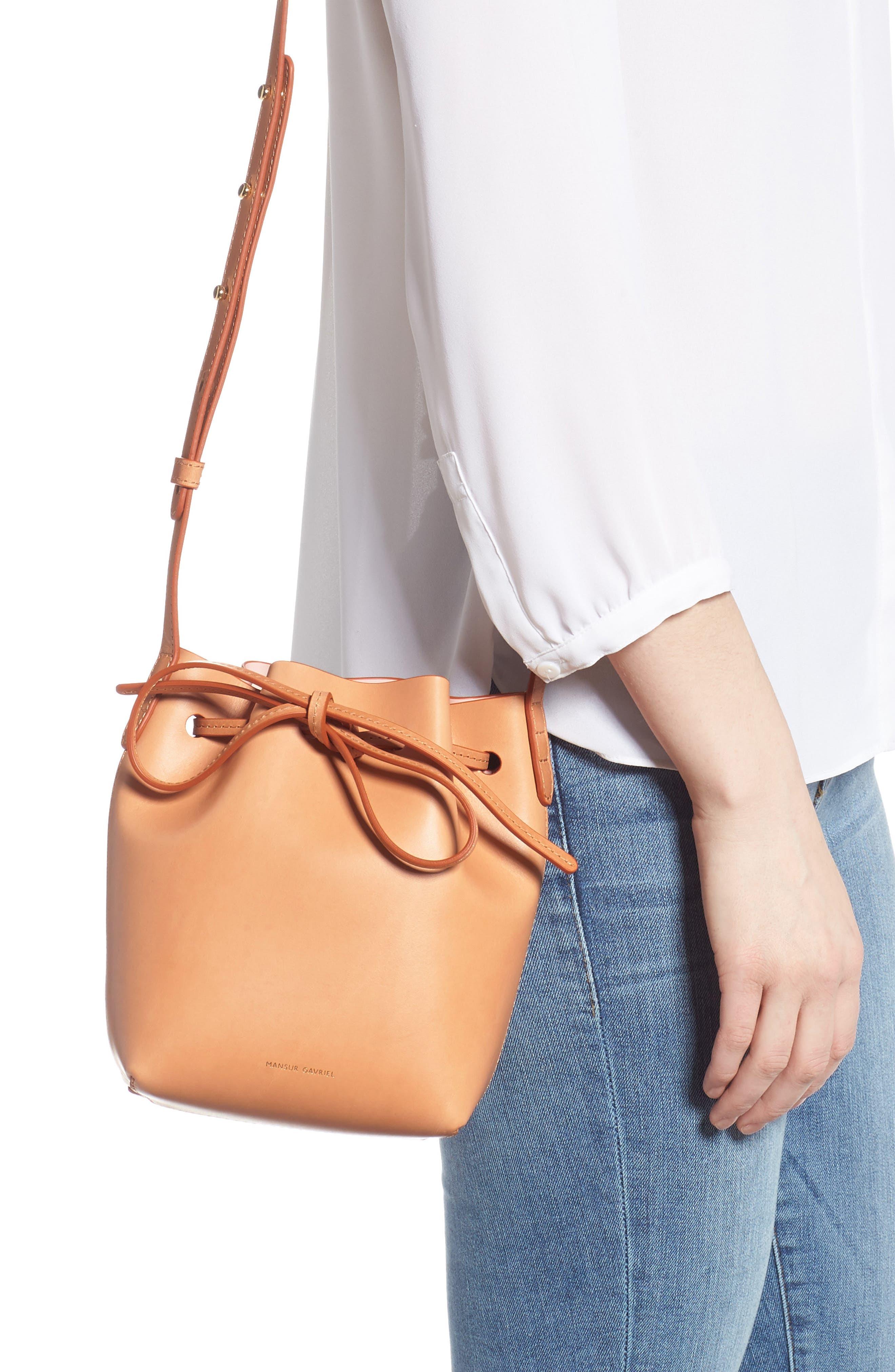 MANSUR GAVRIEL, Mini Mini Leather Bucket Bag, Alternate thumbnail 2, color, CAMMELLO/ ROSA