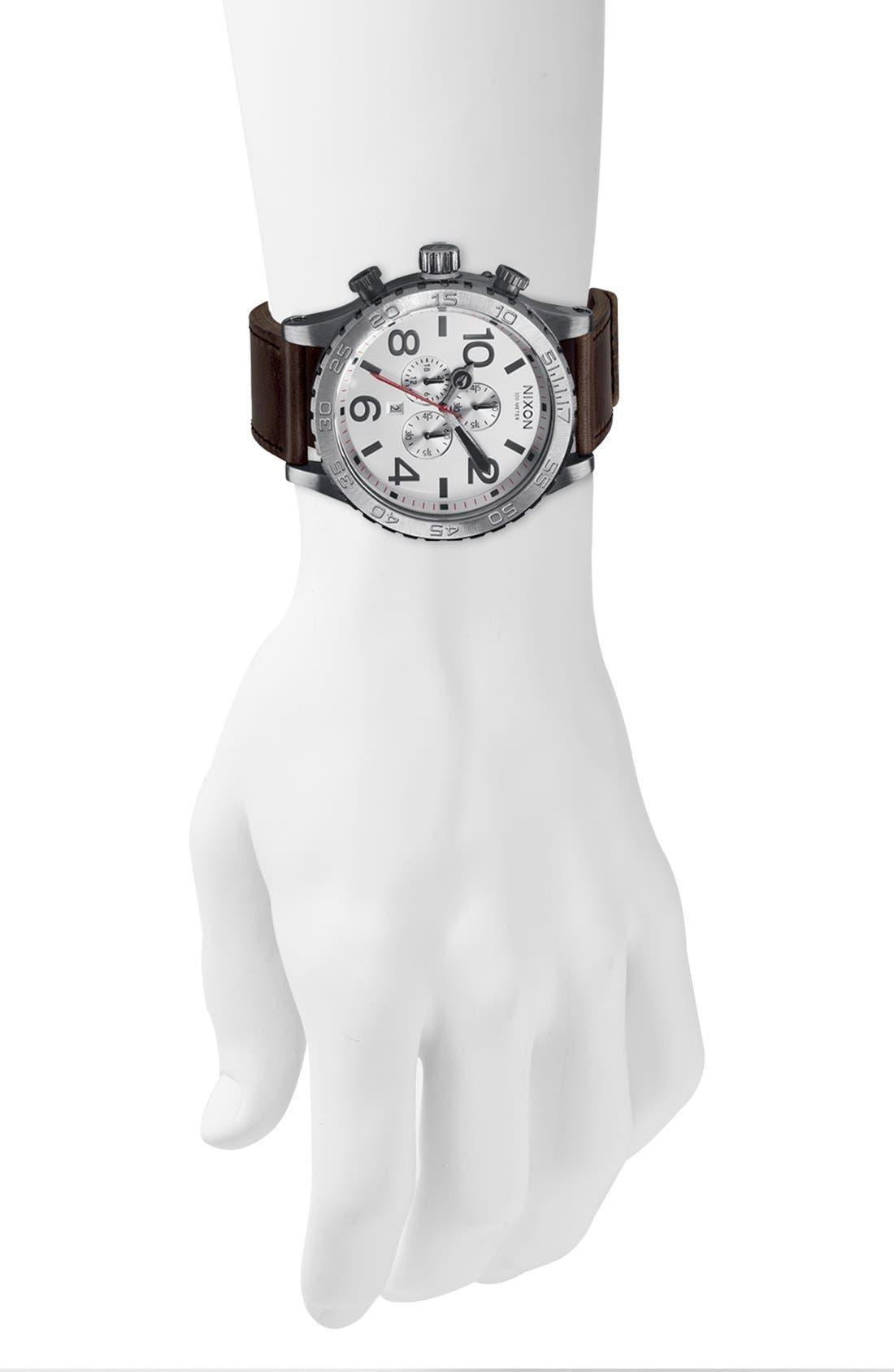 NIXON, 'The 51-30 Chrono' Watch, 51mm, Alternate thumbnail 2, color, SILVER/ BROWN