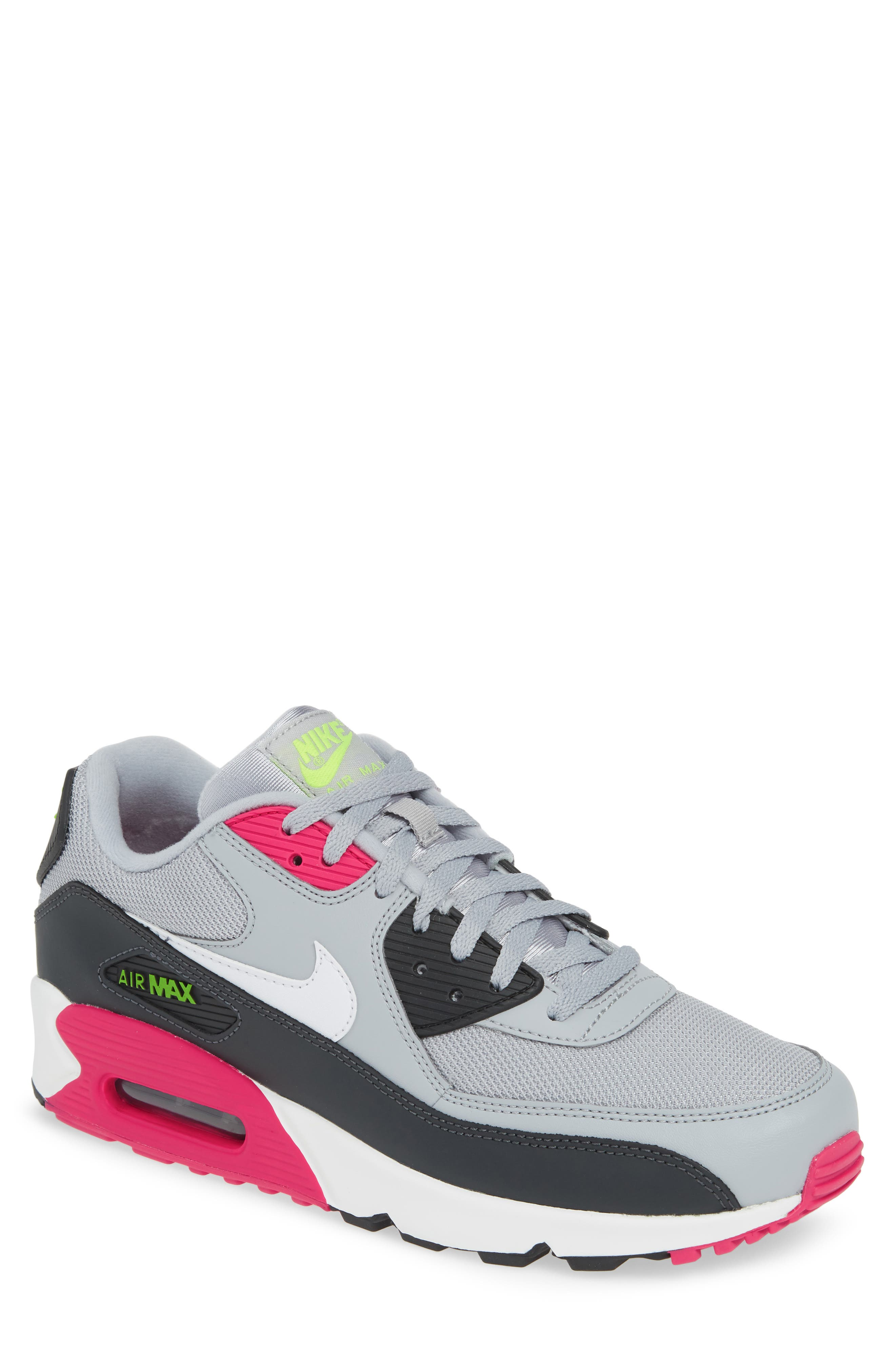 NIKE, Air Max 90 Essential Sneaker, Main thumbnail 1, color, WOLF GREY/ WHITE/ PINK