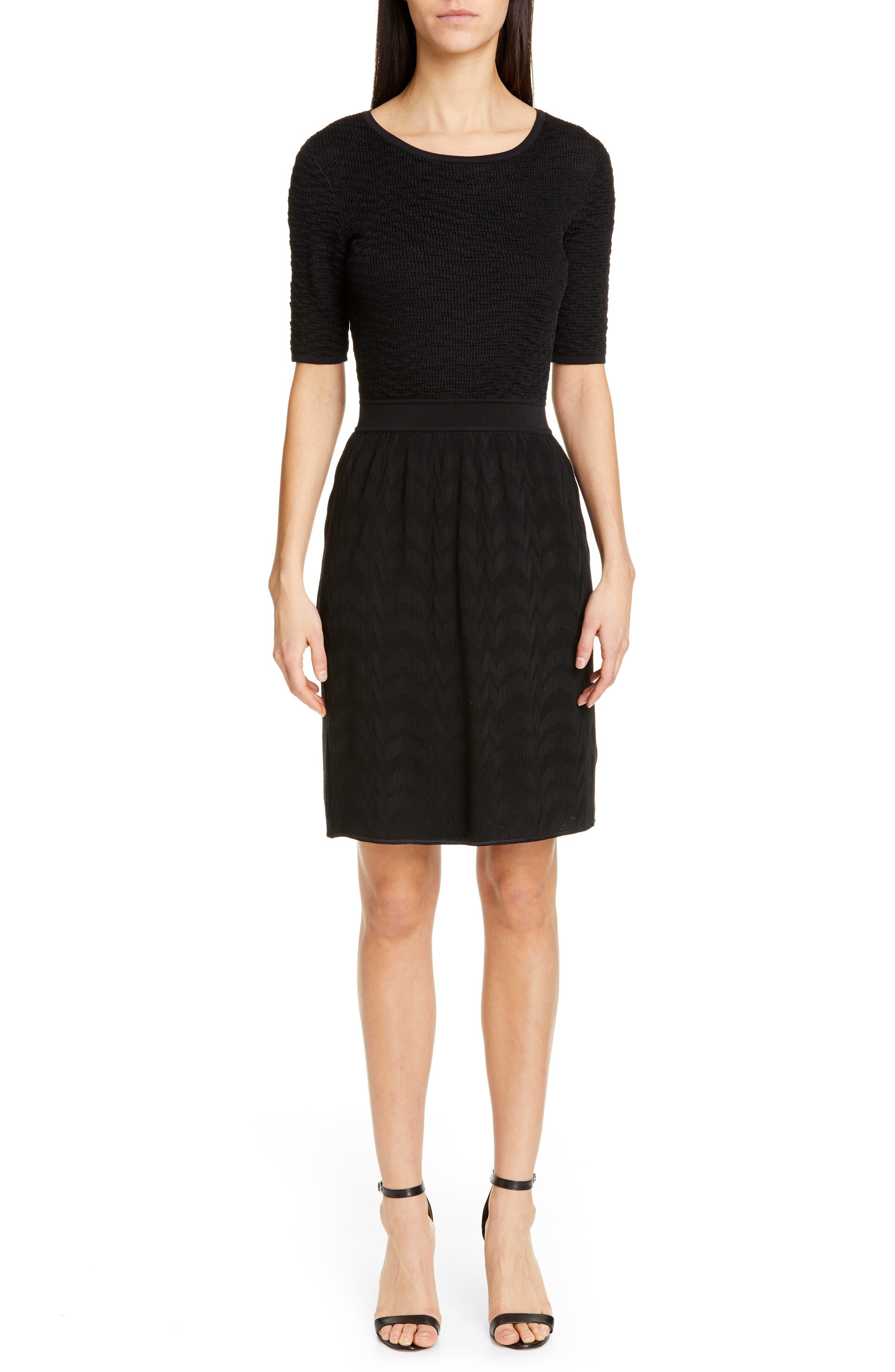 Missoni Short Sleeve Sweater Dress, 8 IT - Black