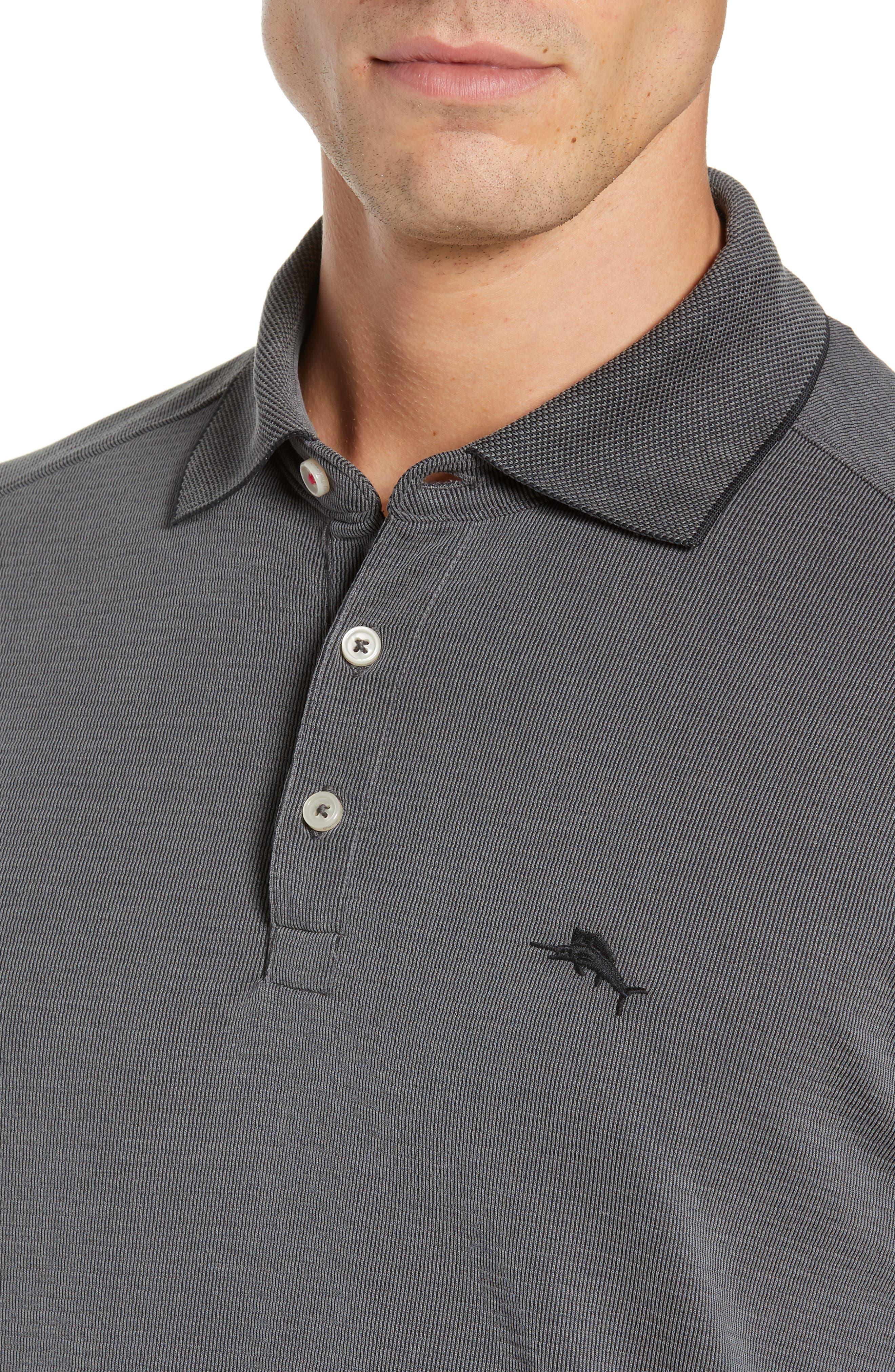 TOMMY BAHAMA, Coastal Crest Regular Fit Polo, Alternate thumbnail 4, color, BLACK