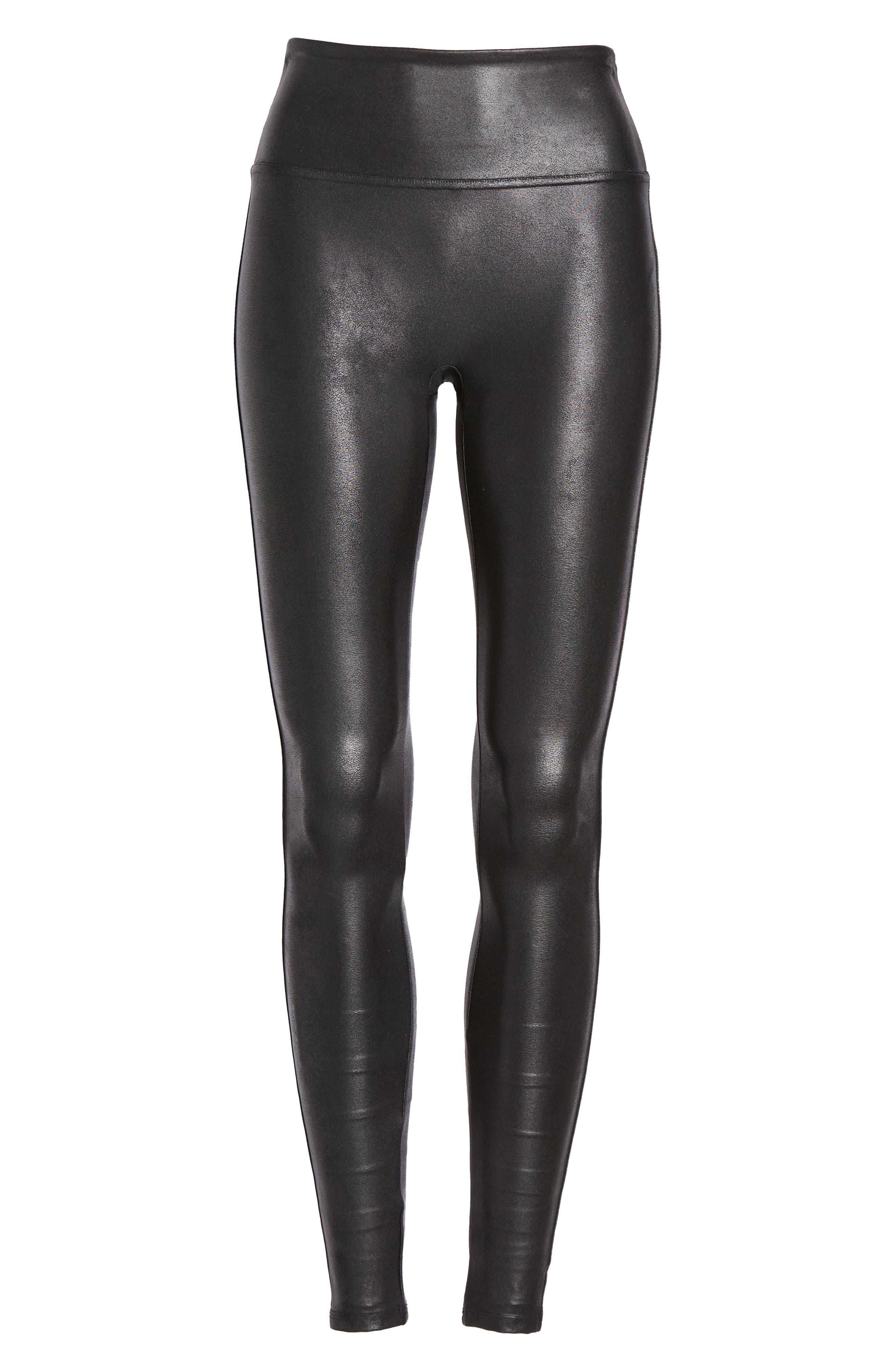 SPANX<SUP>®</SUP>, Faux Leather Leggings, Alternate thumbnail 5, color, BLACK