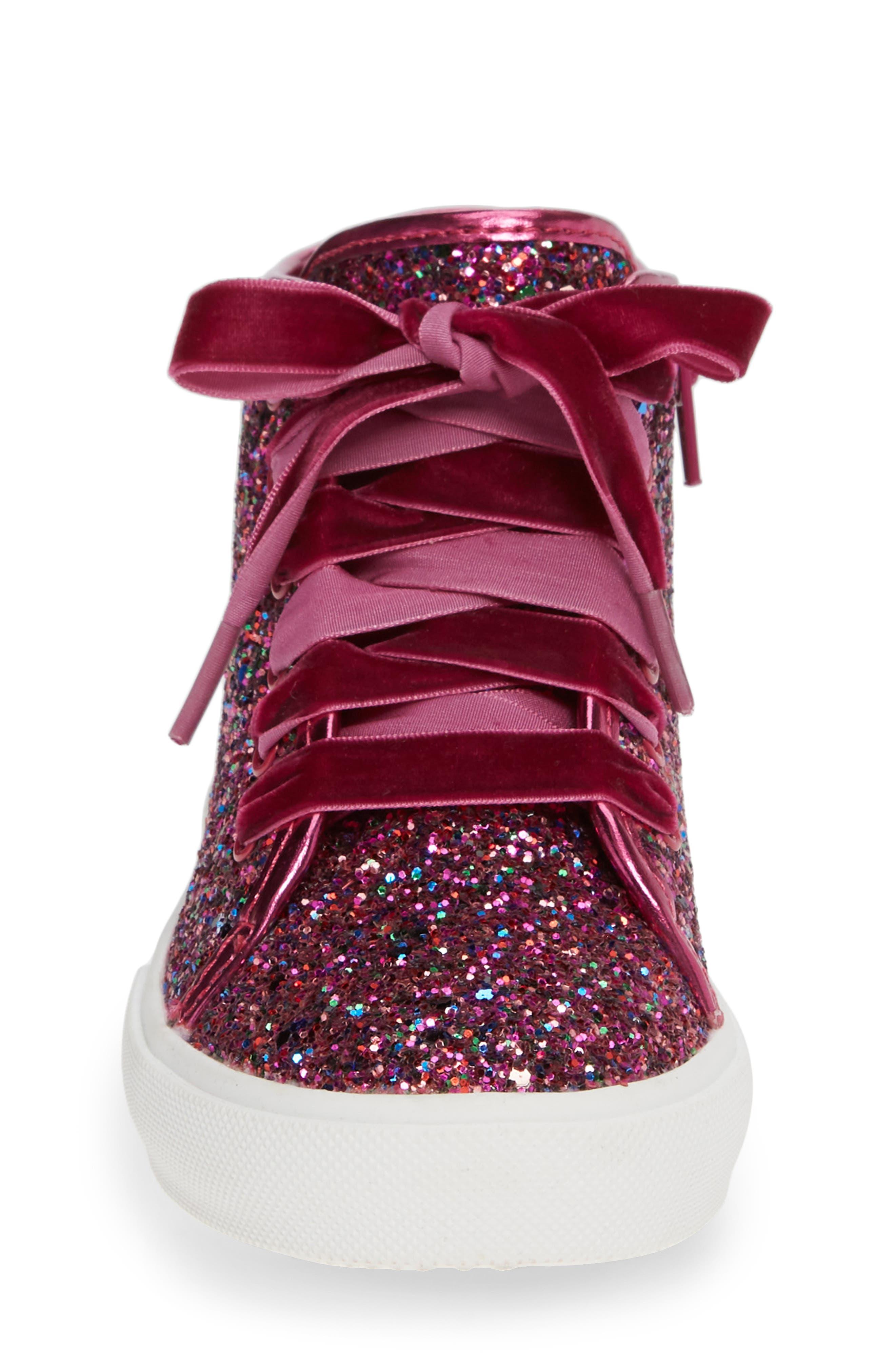 TUCKER + TATE, Skylar Glitter Sneaker, Alternate thumbnail 4, color, FUSCHIA MULTI GLITTER PU