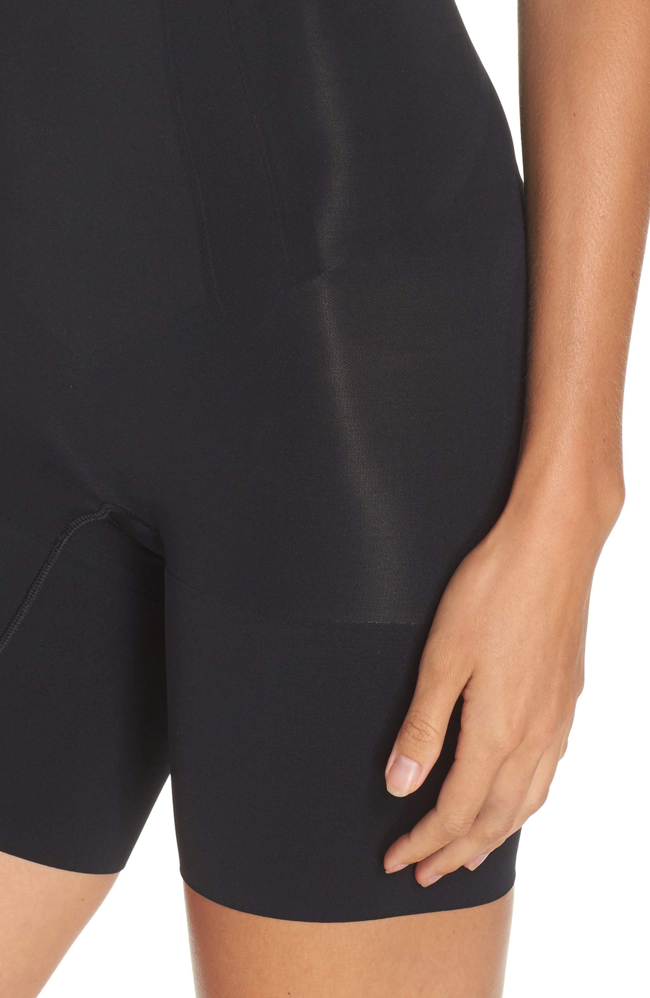 SPANX<SUP>®</SUP>, Oncore Mid Thigh Bodysuit, Alternate thumbnail 4, color, BLACK