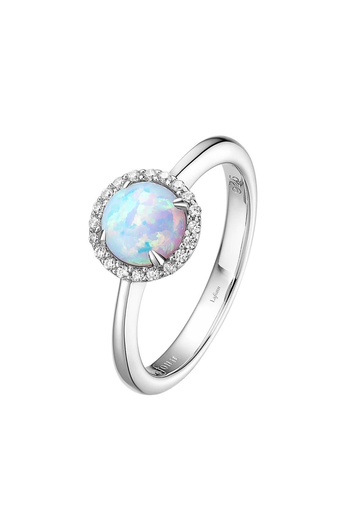 LAFONN Birthstone Halo Ring, Main, color, OCTOBER OPAL / SILVER