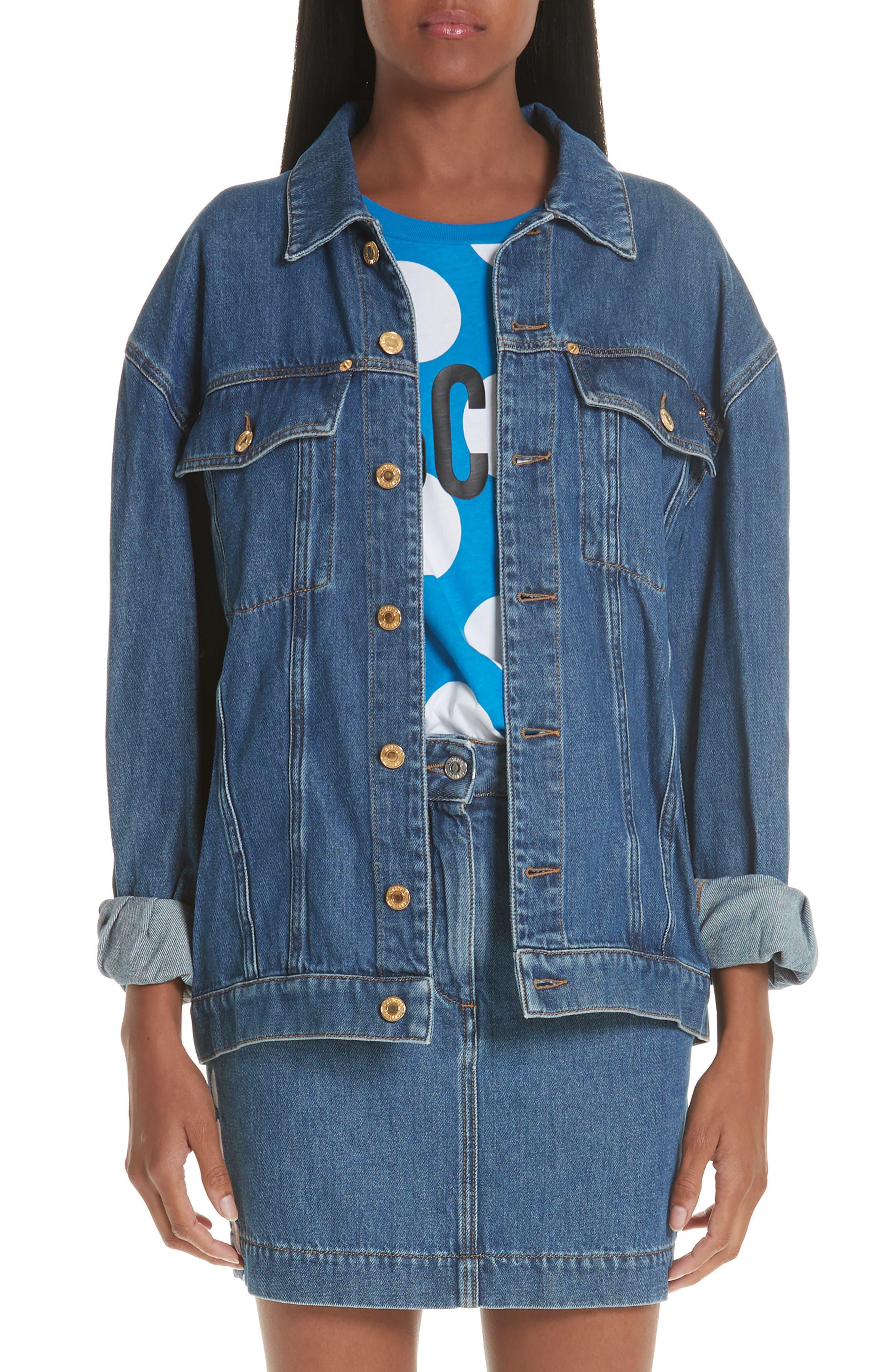 MOSCHINO Sequin Teddy Denim Jacket, Main, color, DENIM