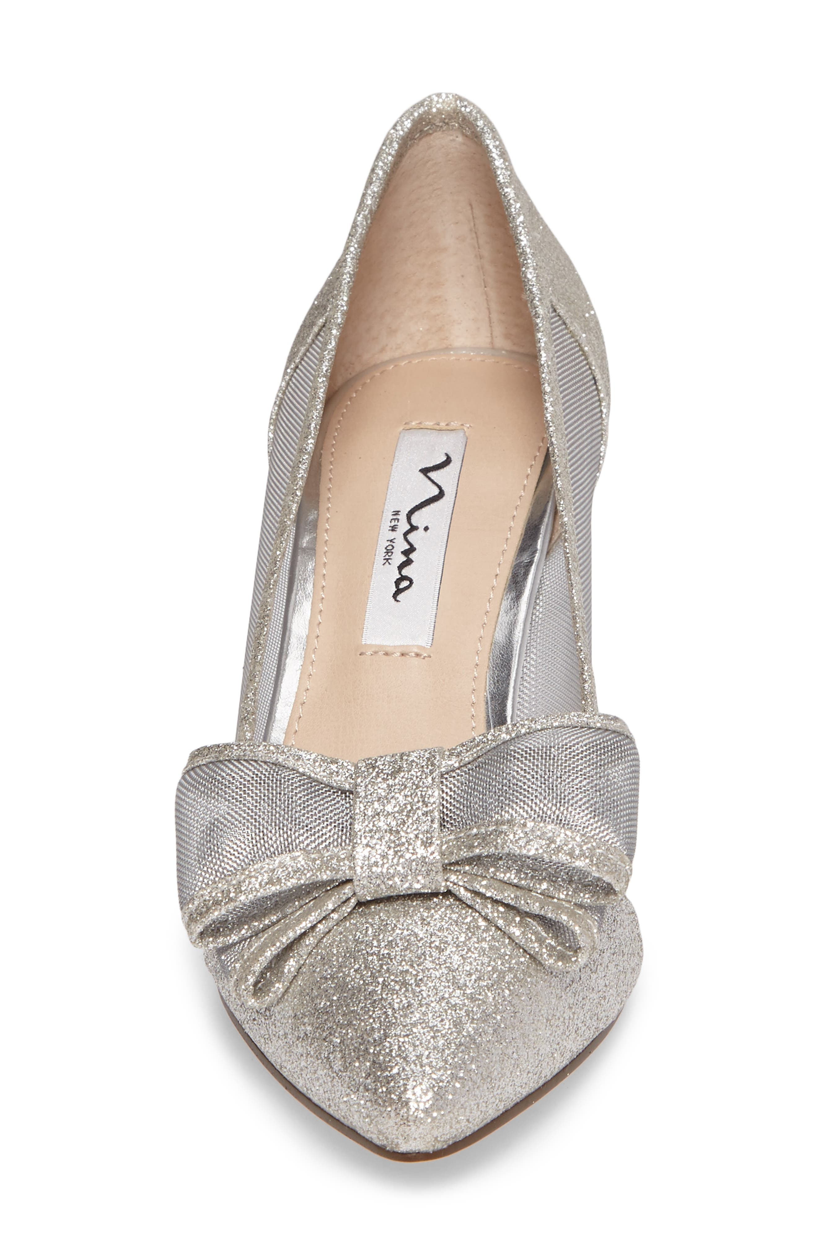 NINA, Bianca Pointy Toe Pump, Alternate thumbnail 4, color, SOFT SILVER GLITTER FABRIC