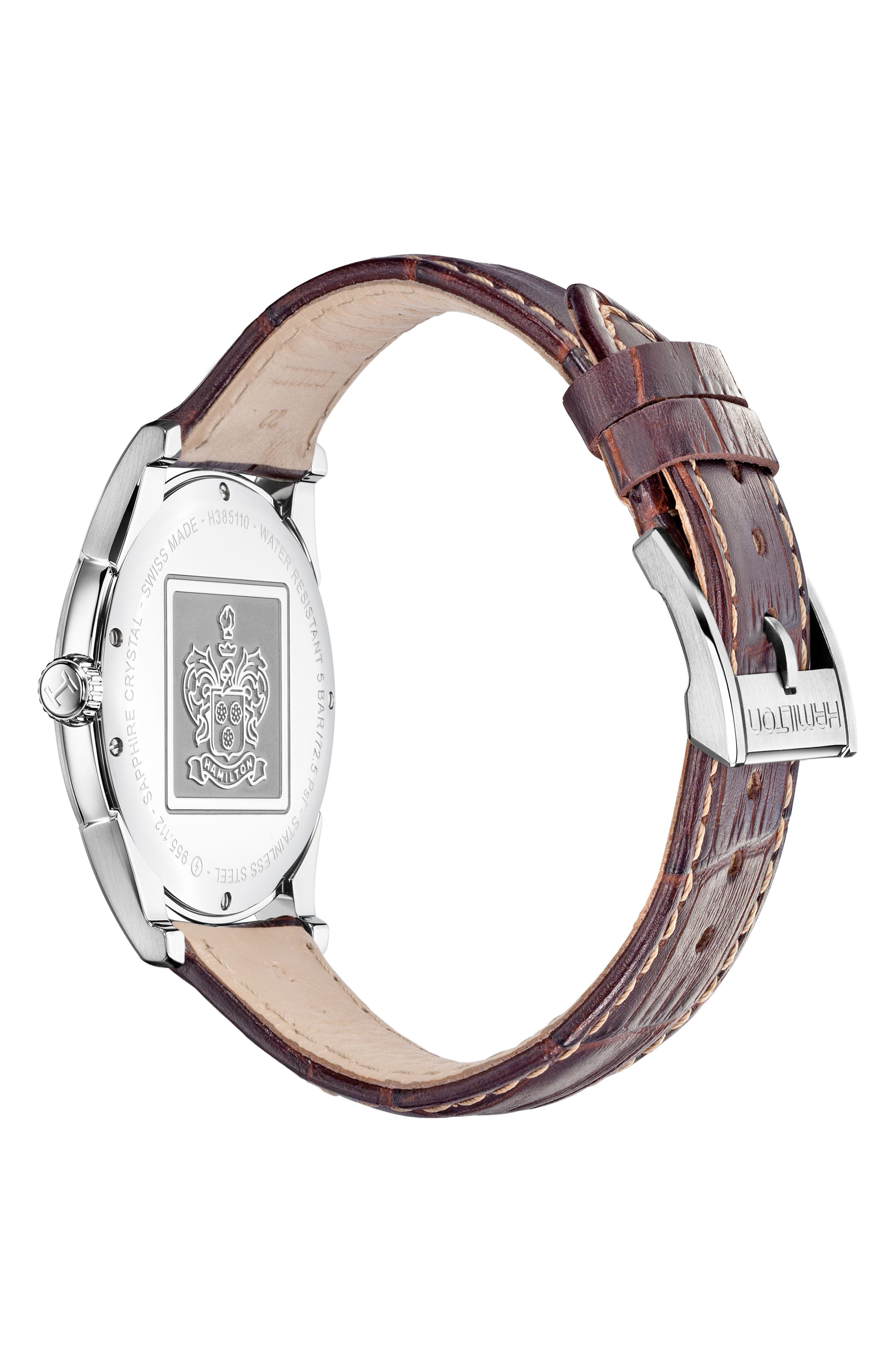 HAMILTON, Jazzmaster Thinline Leather Strap Watch, 42mm, Alternate thumbnail 3, color, BROWN/ SILVER