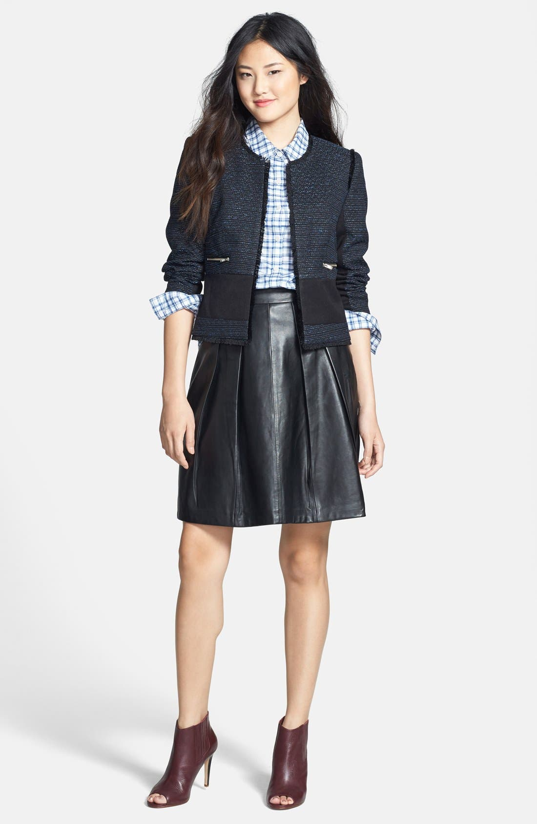 HALOGEN<SUP>®</SUP>, Pleat Leather Skirt, Alternate thumbnail 4, color, 001