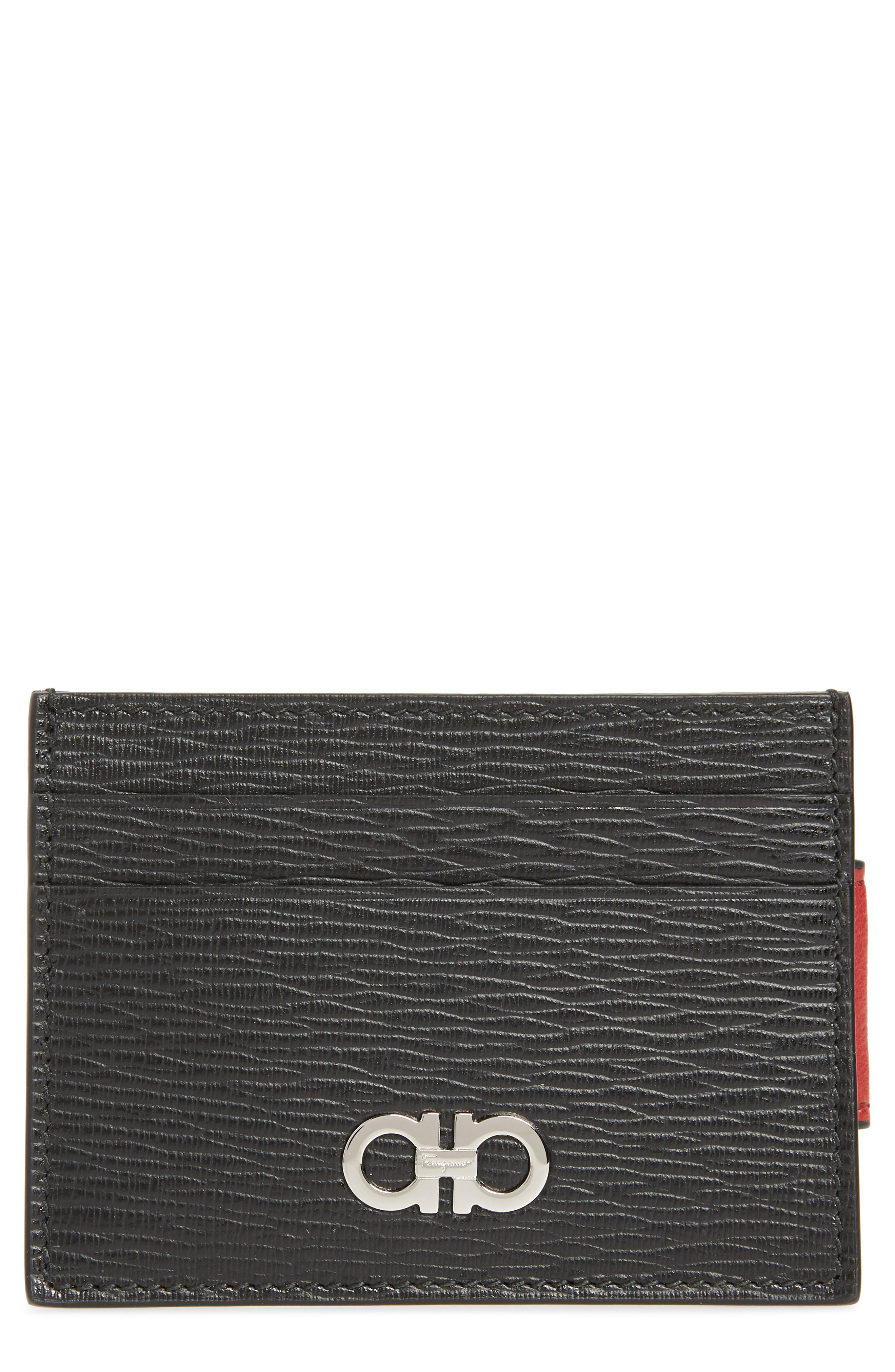 SALVATORE FERRAGAMO, Revival Leather Magnetic Money Clip Card Case, Main thumbnail 1, color, 979
