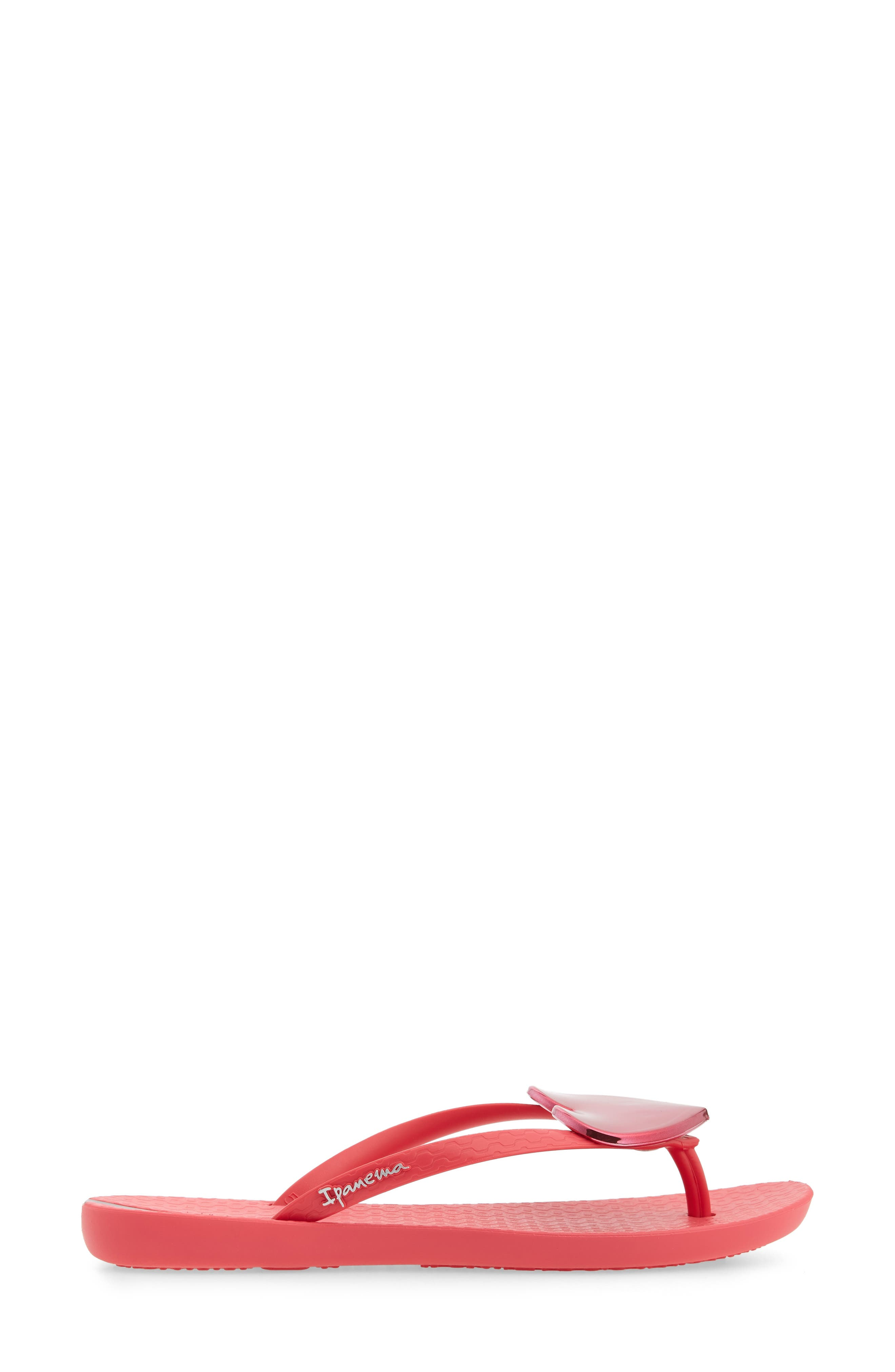 IPANEMA, Wave Heart Flip Flop, Alternate thumbnail 3, color, PINK/ RED