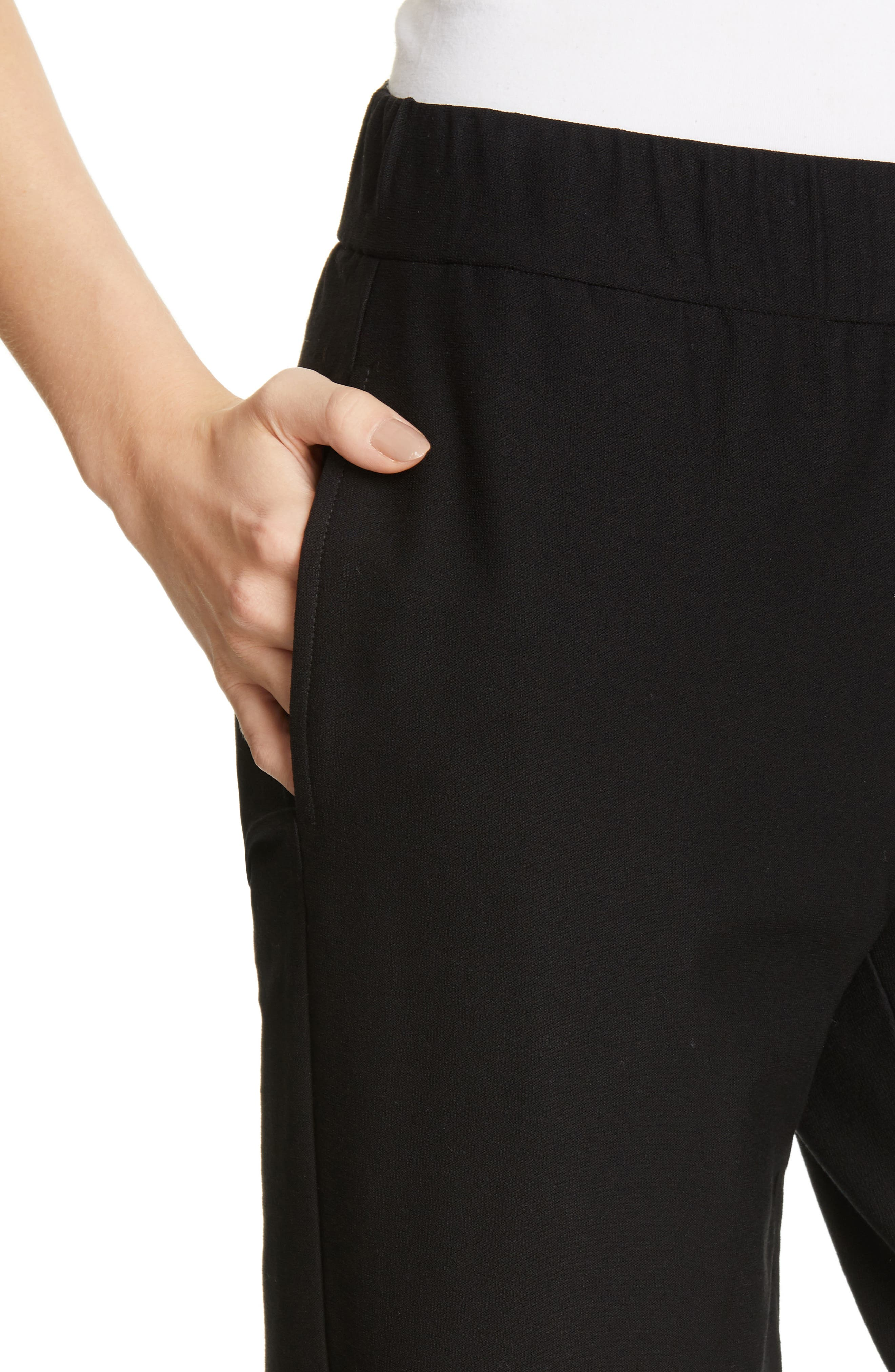 EILEEN FISHER, Tapered Ankle Pants, Alternate thumbnail 5, color, BLACK
