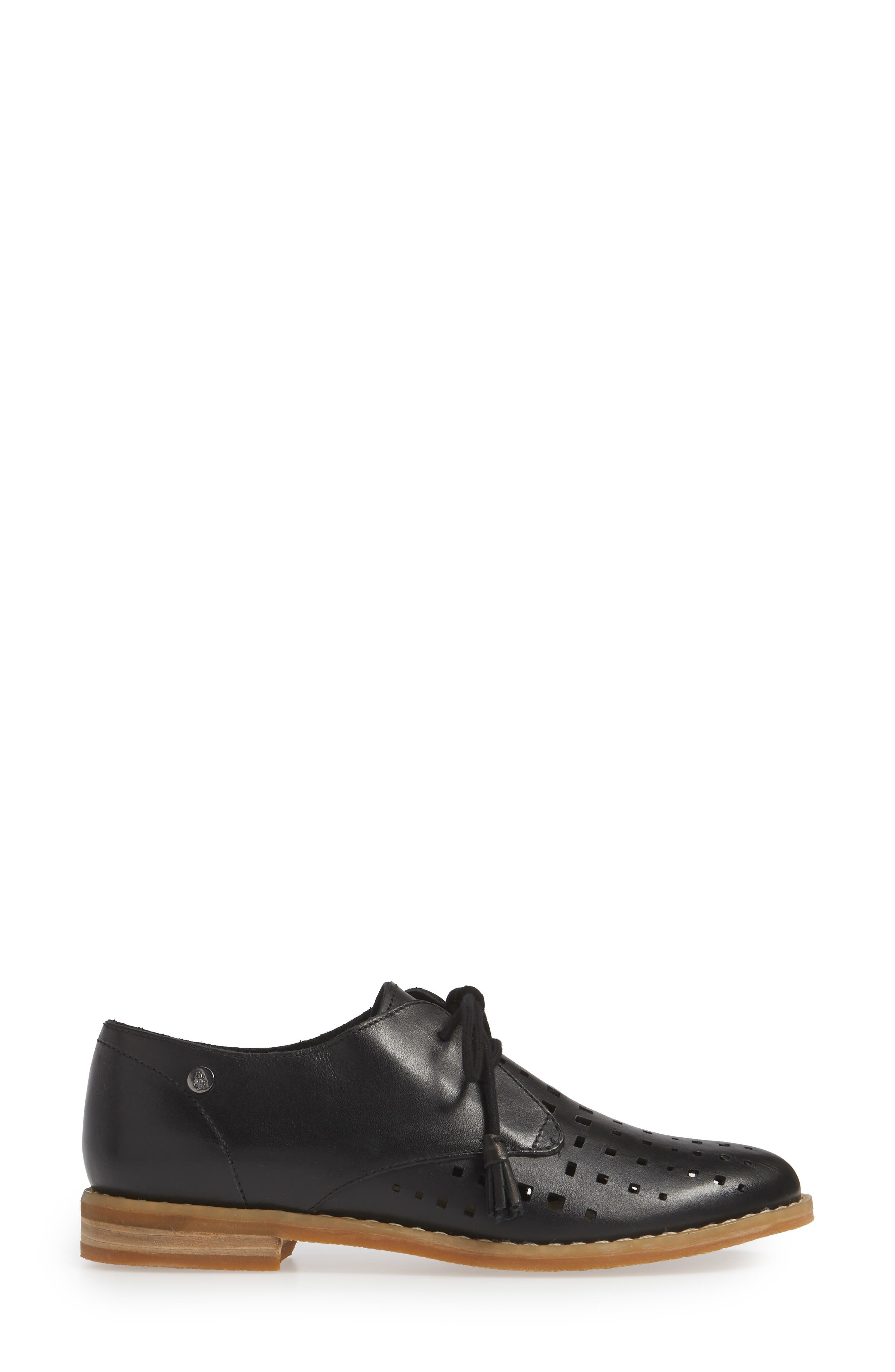 HUSH PUPPIES<SUP>®</SUP>, Chardon Perforated Derby, Alternate thumbnail 3, color, BLACK LEATHER