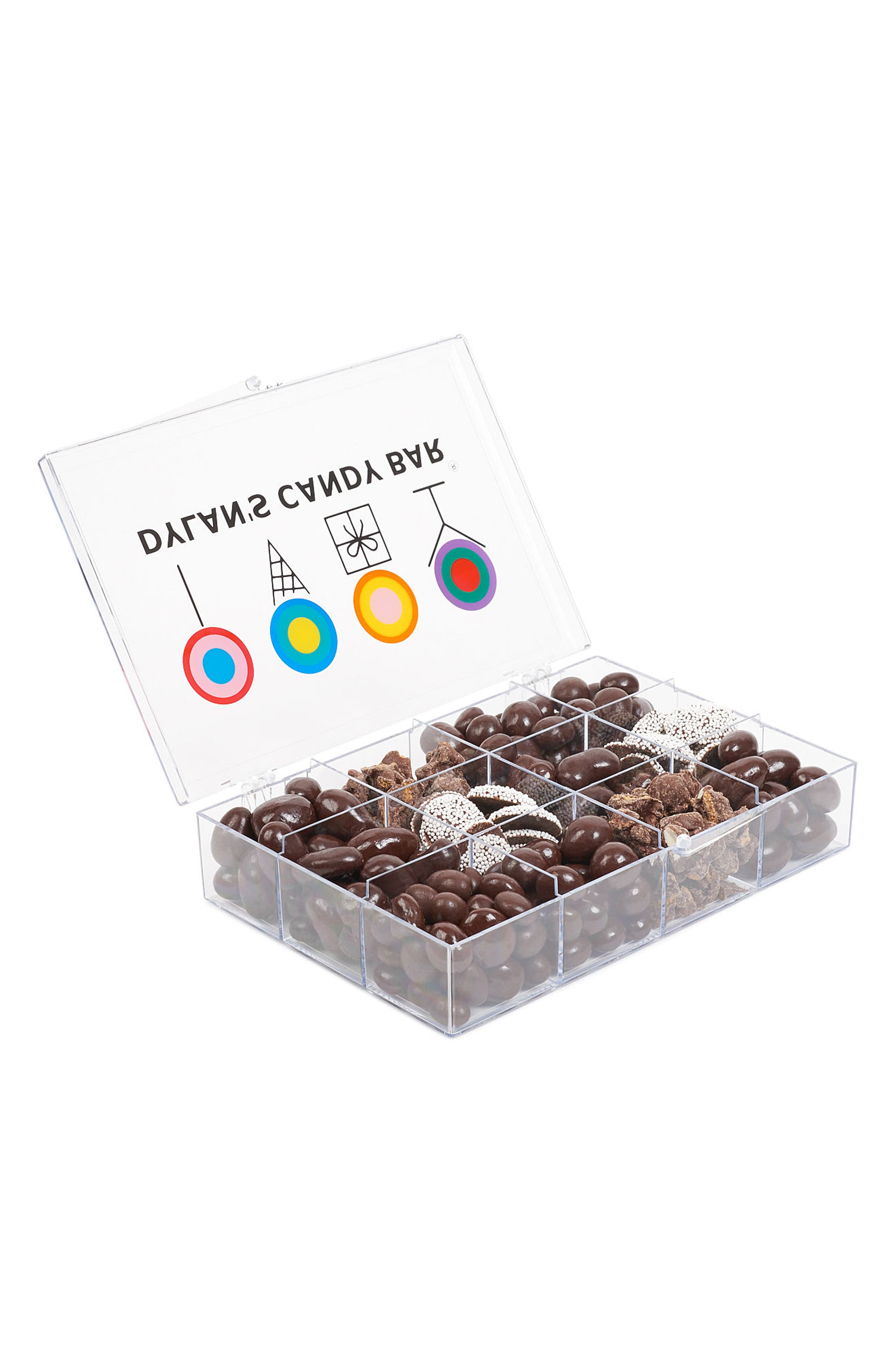 DYLAN'S CANDY BAR, Signature Dark Chocolate Tackle Box, Alternate thumbnail 2, color, BROWN