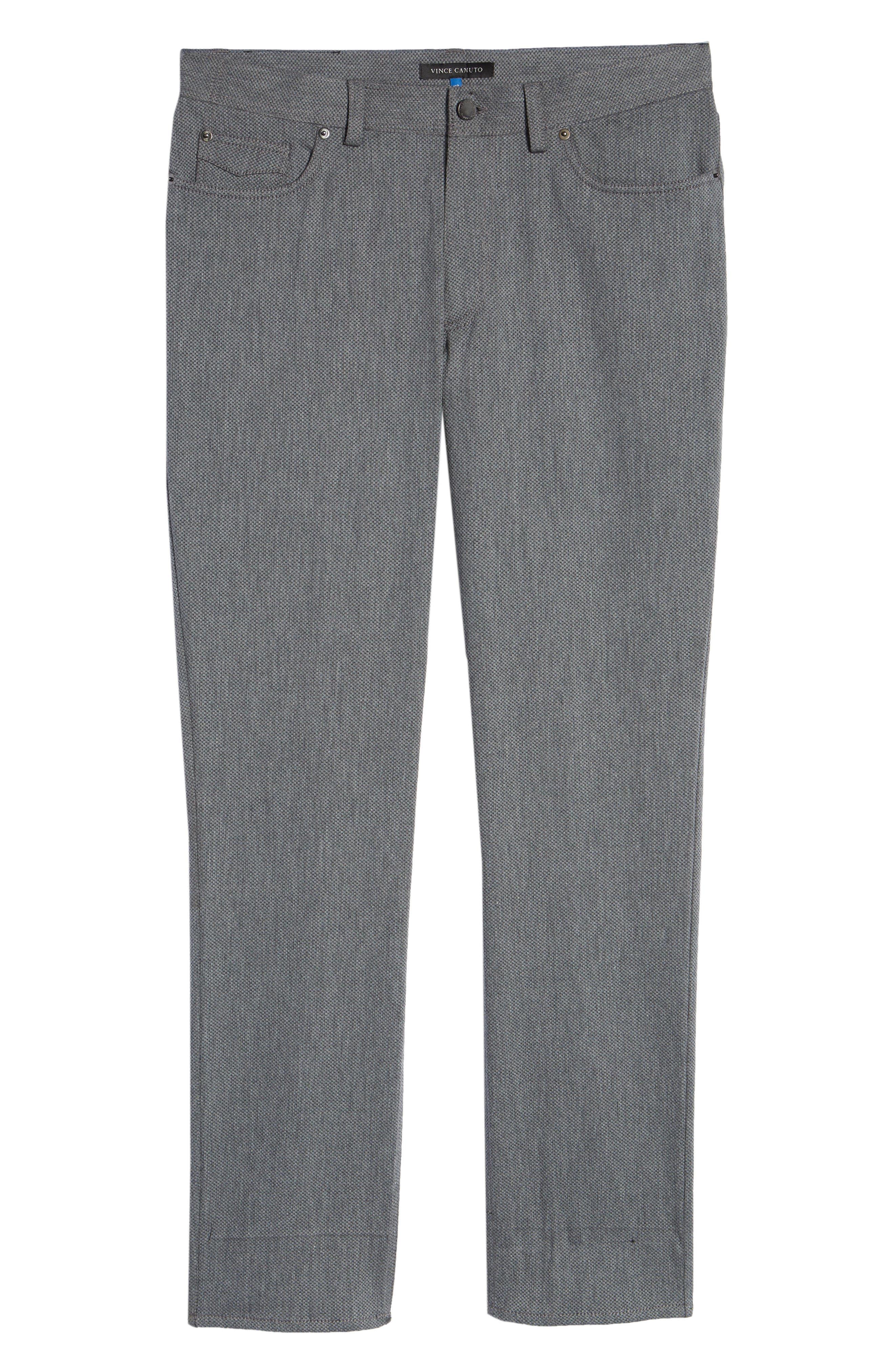 VINCE CAMUTO, Straight Leg Five Pocket Stretch Pants, Alternate thumbnail 6, color, HEATHER CHARCOAL CROSSHATCH