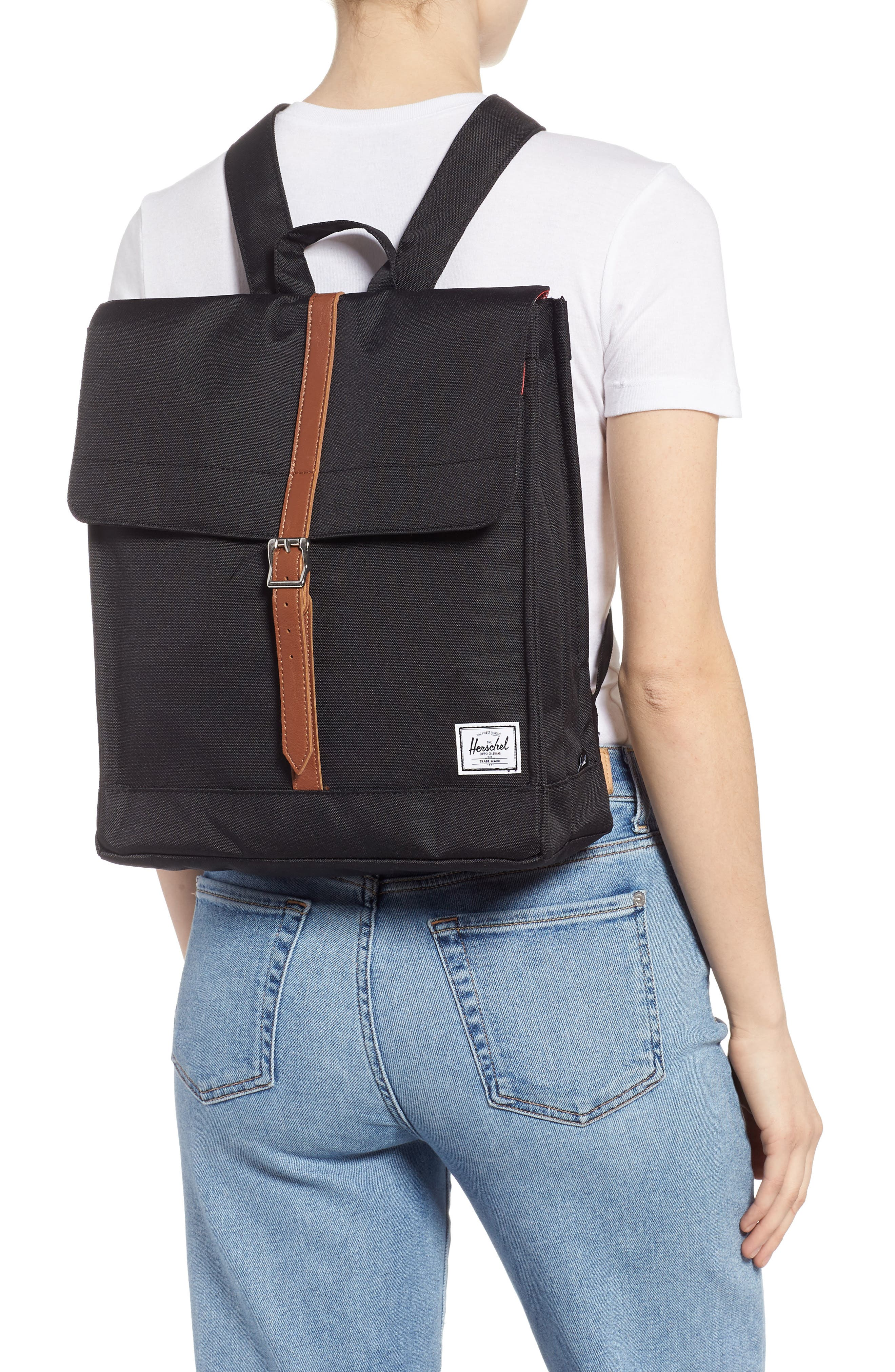 HERSCHEL SUPPLY CO., City Mid Volume Backpack, Alternate thumbnail 2, color, BLACK/ TAN SYNTHETIC LEATHER