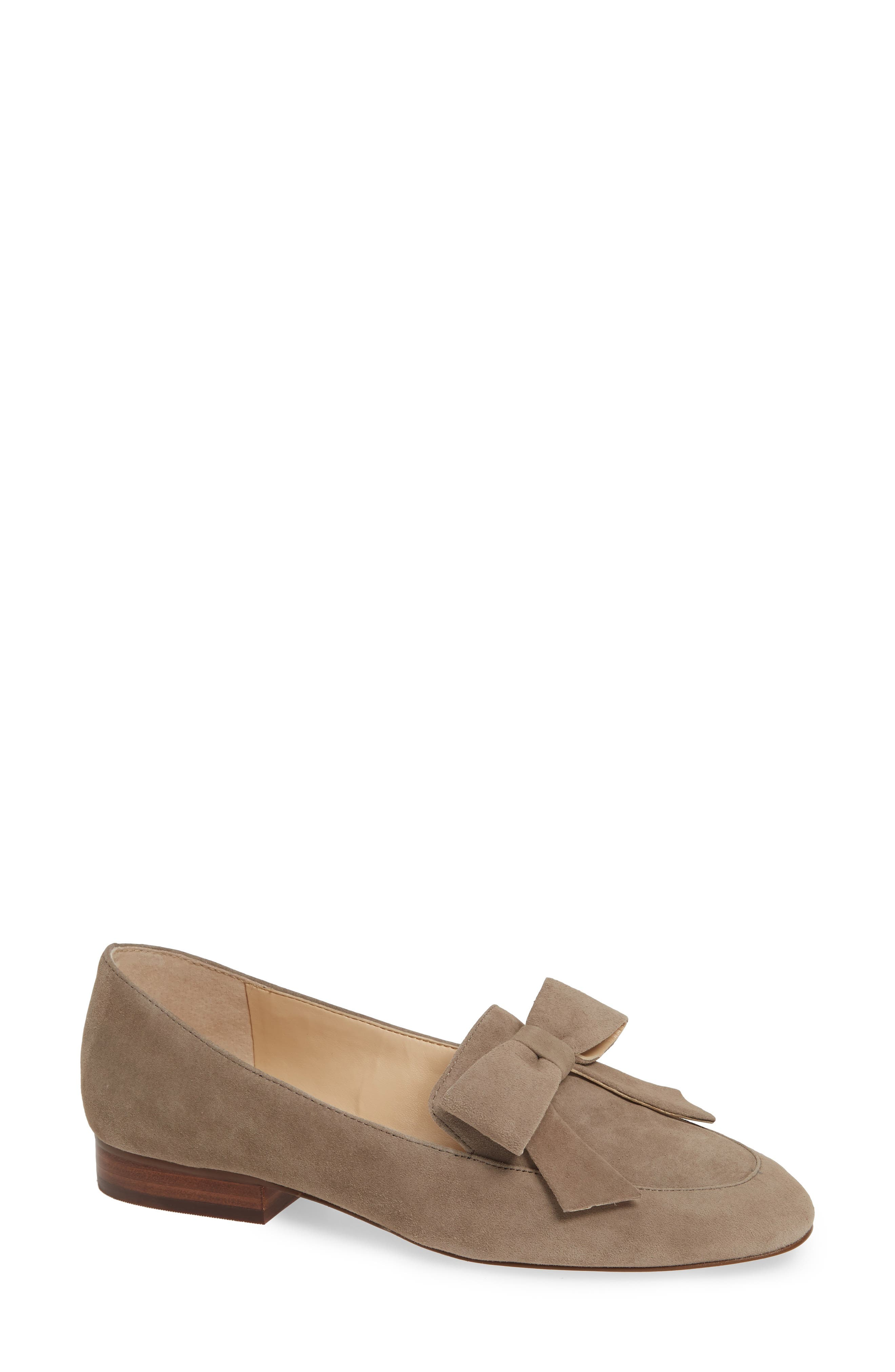 SOLE SOCIETY, Tannse Bow Loafer, Main thumbnail 1, color, MUSHROOM SUEDE