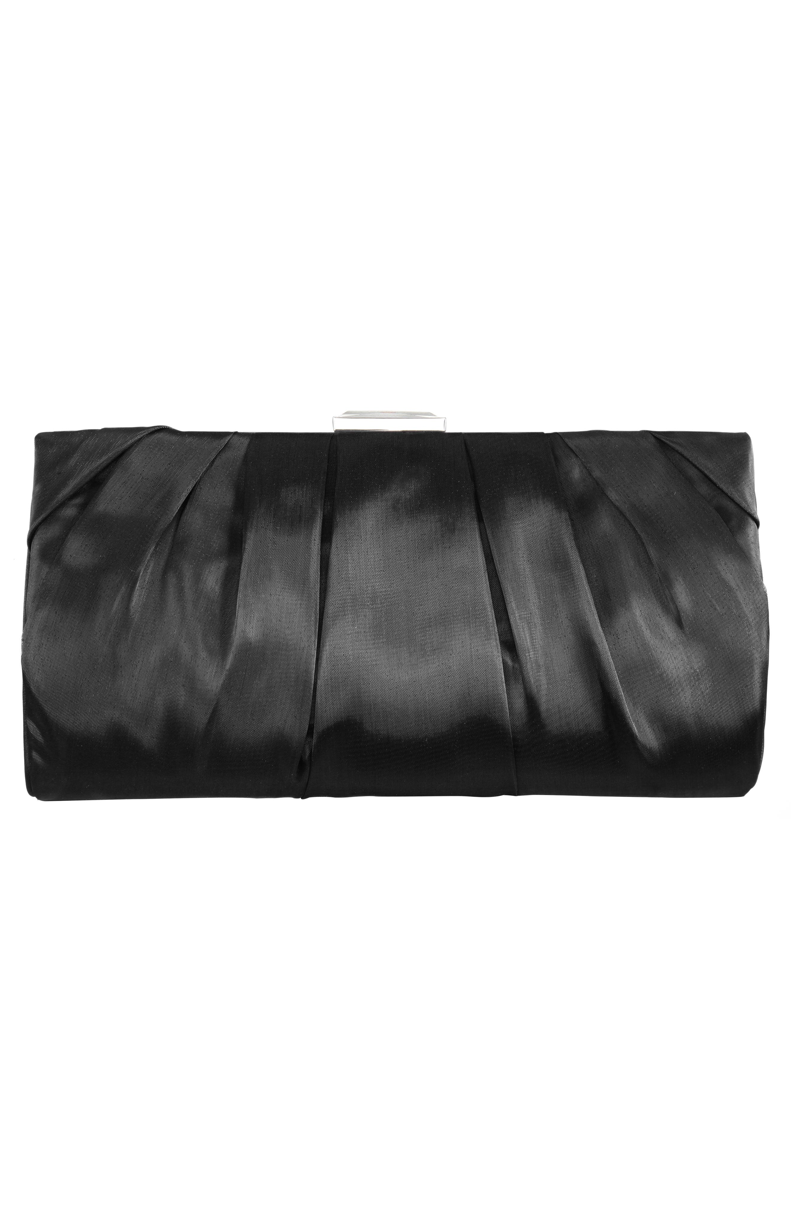NINA, Crystal Clasp Pleated Clutch, Alternate thumbnail 2, color, BLACK