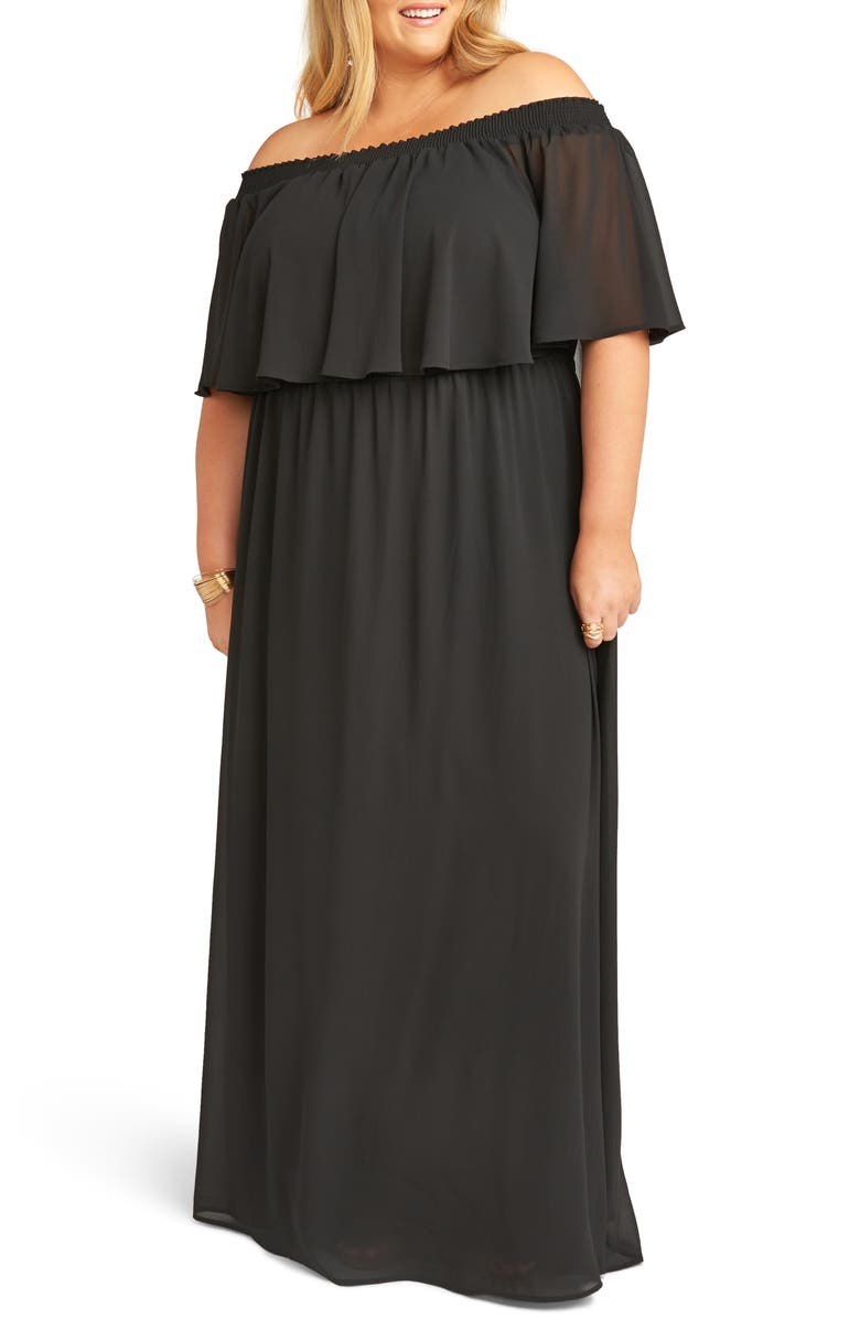 Show Me Your Mumu Dresses HACIENDA OFF THE SHOULDER RUFFLE EVENING DRESS