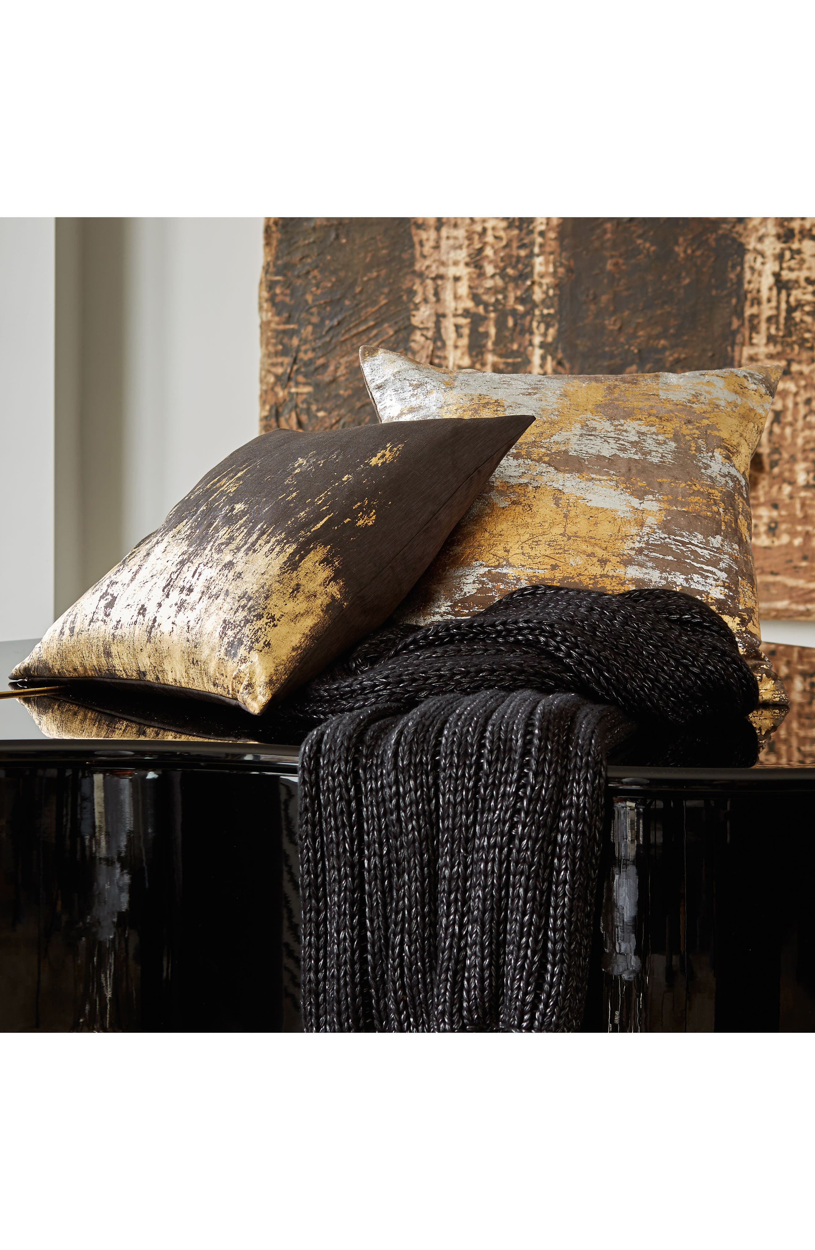 MICHAEL ARAM, Distressed Metallic Accent Pillow, Alternate thumbnail 2, color, SILVER