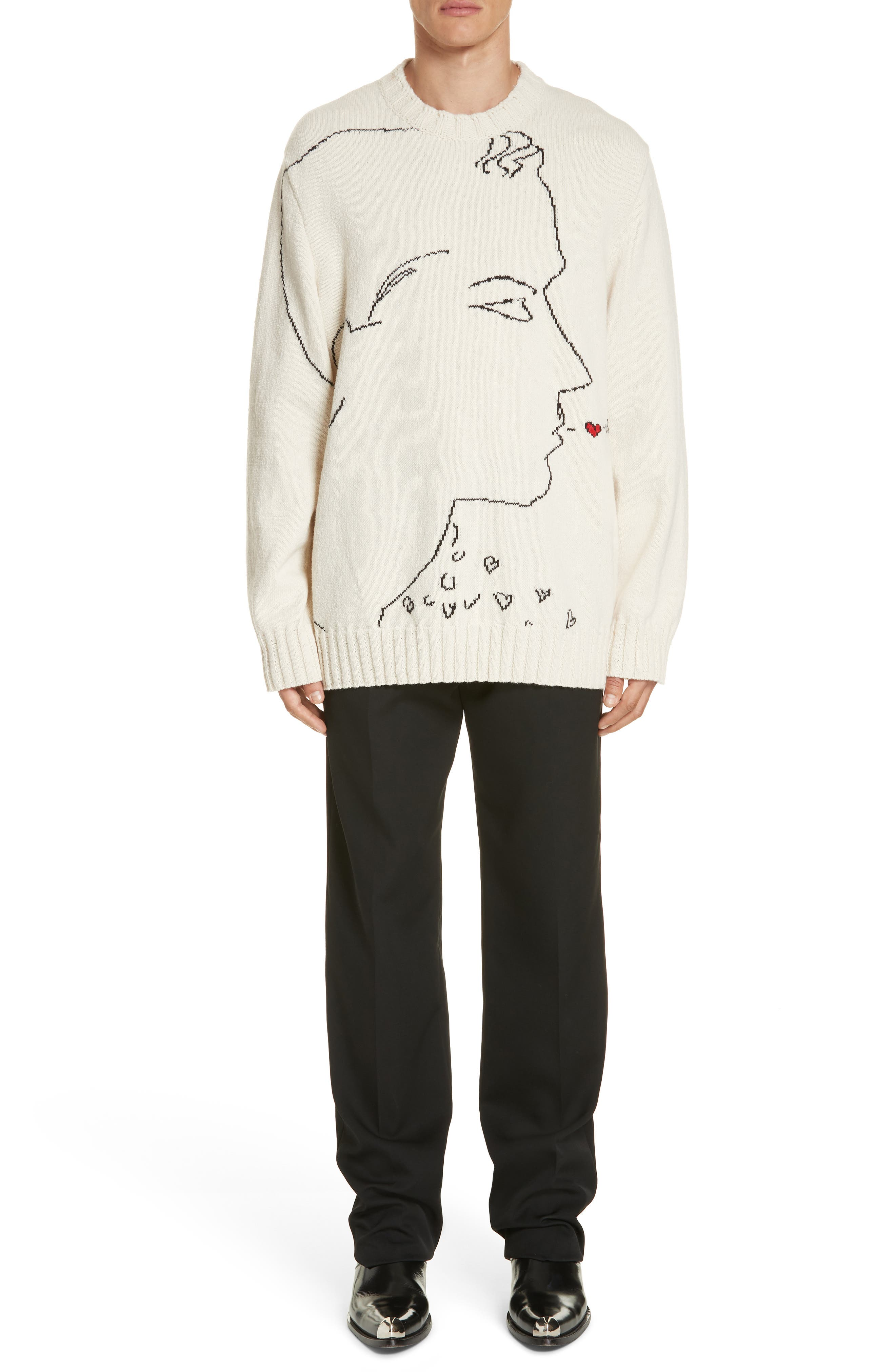 CALVIN KLEIN 205W39NYC, Print Wool Sweater, Alternate thumbnail 7, color, ECRU BLACK RED