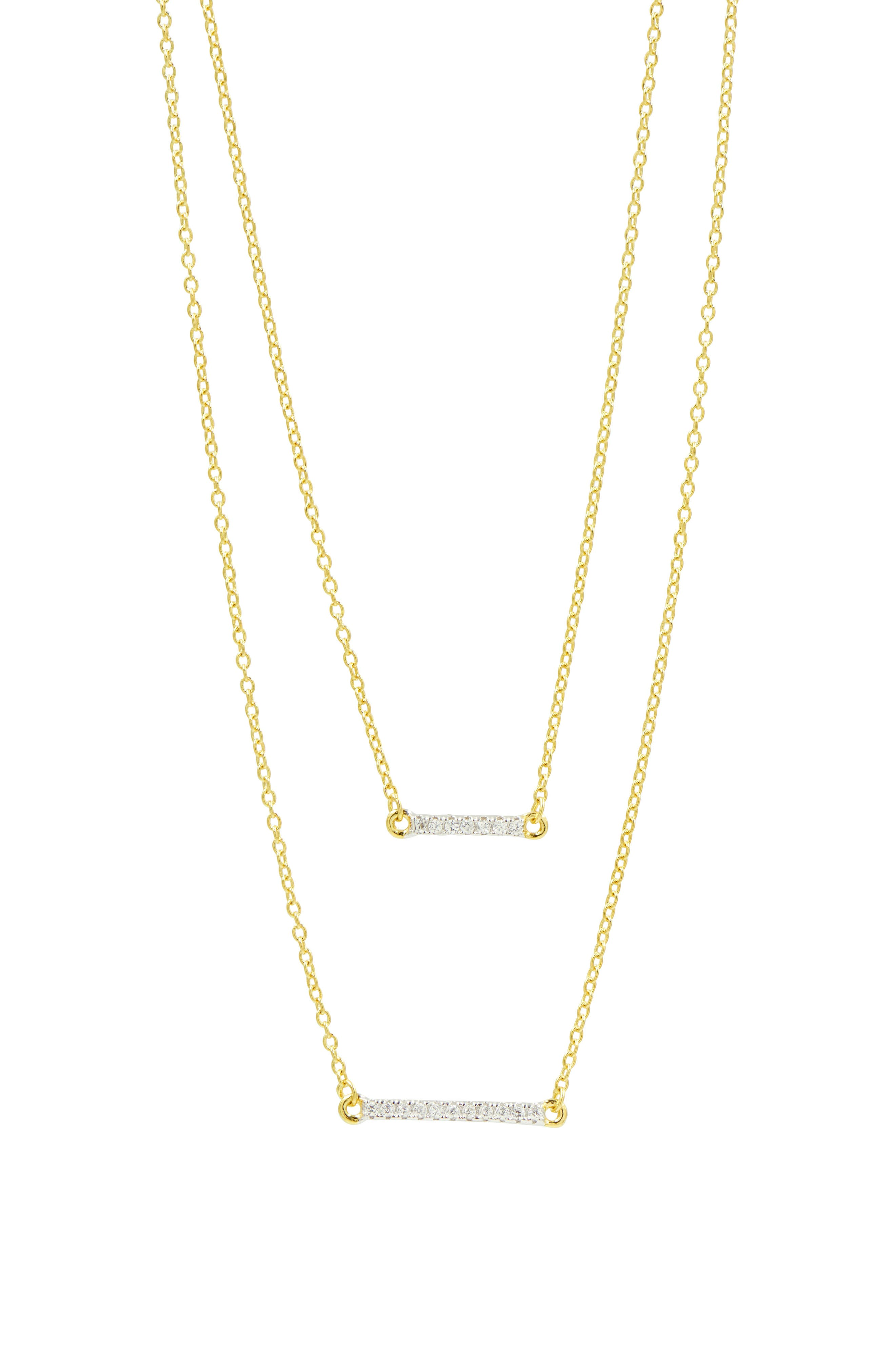FREIDA ROTHMAN, Radiance Double Pendant Necklace, Main thumbnail 1, color, GOLD/ SILVER