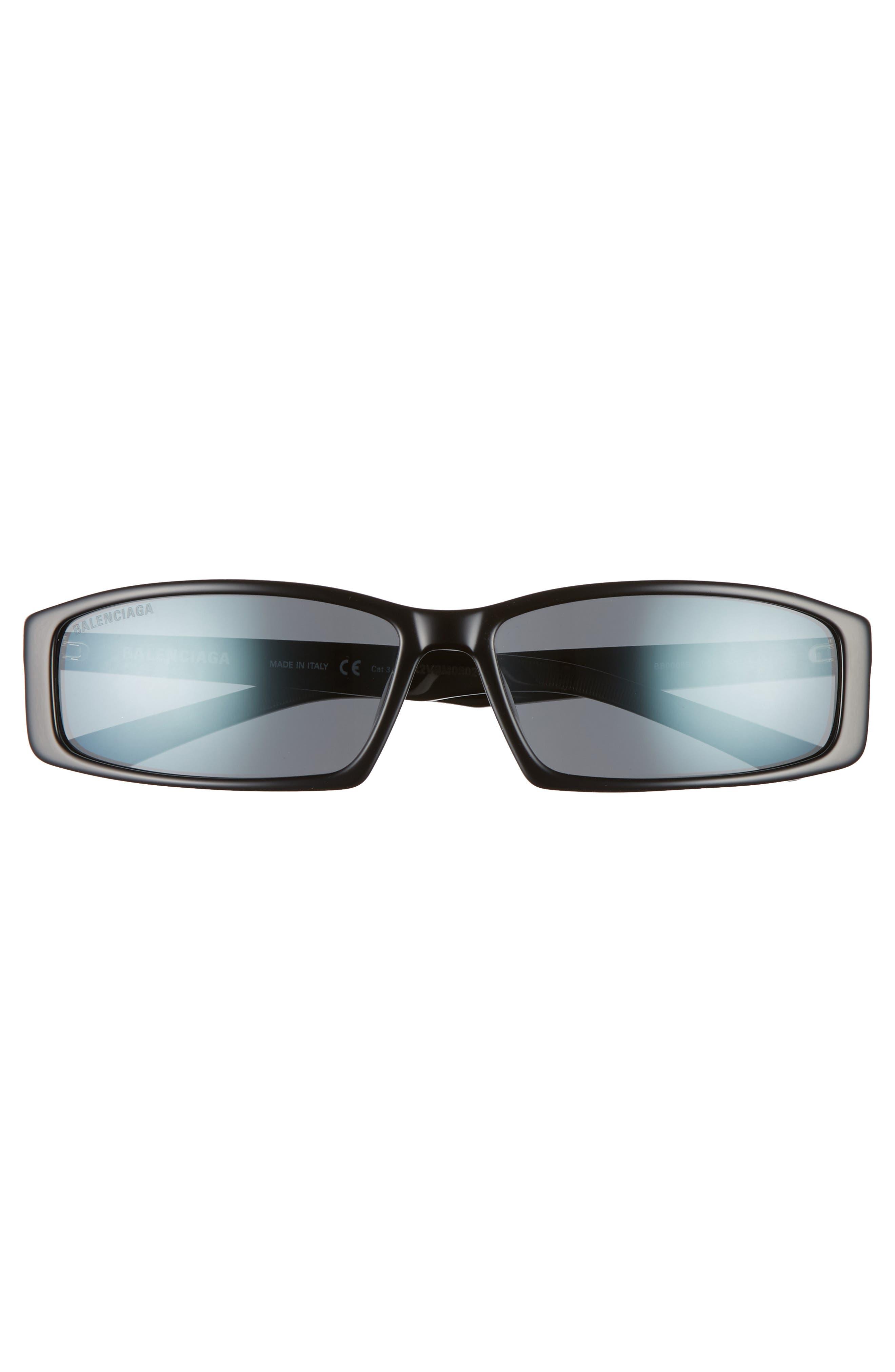BALENCIAGA, 60mm Rectangle Sunglasses, Alternate thumbnail 3, color, SHINY BLACK/ GREY