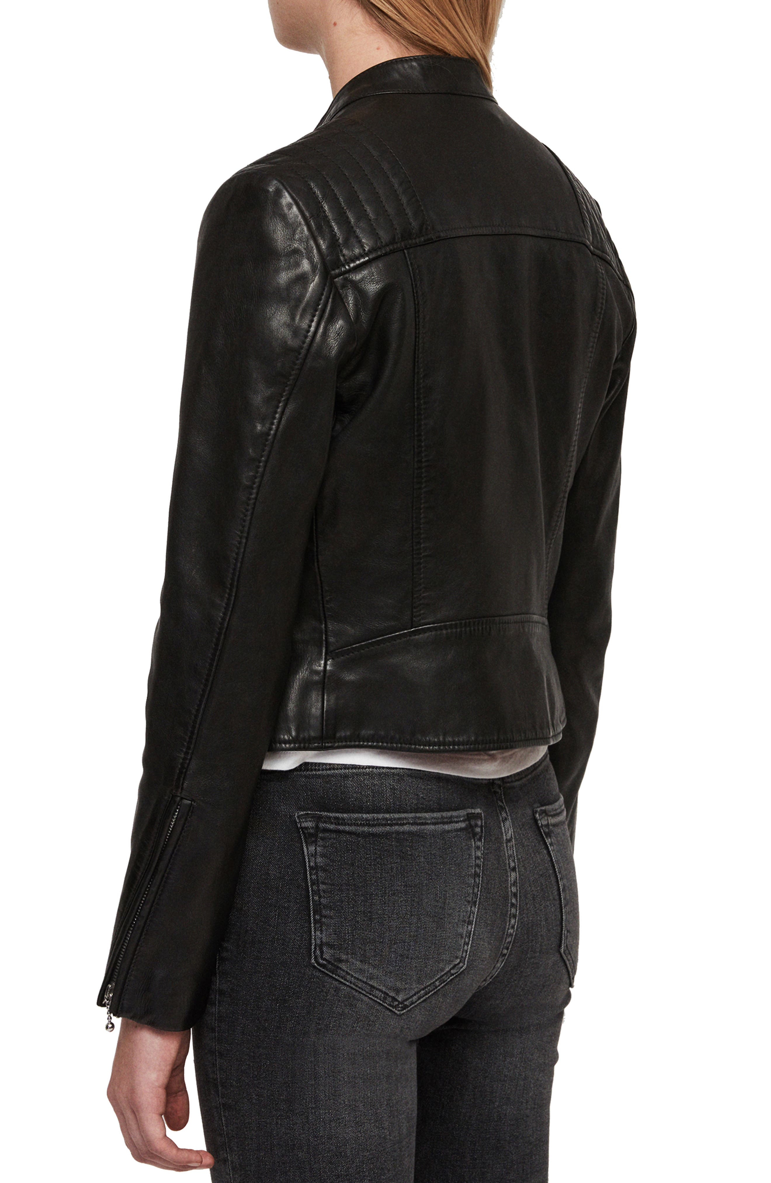 ALLSAINTS, Bircham Leather Biker Jacket, Alternate thumbnail 2, color, BLACK