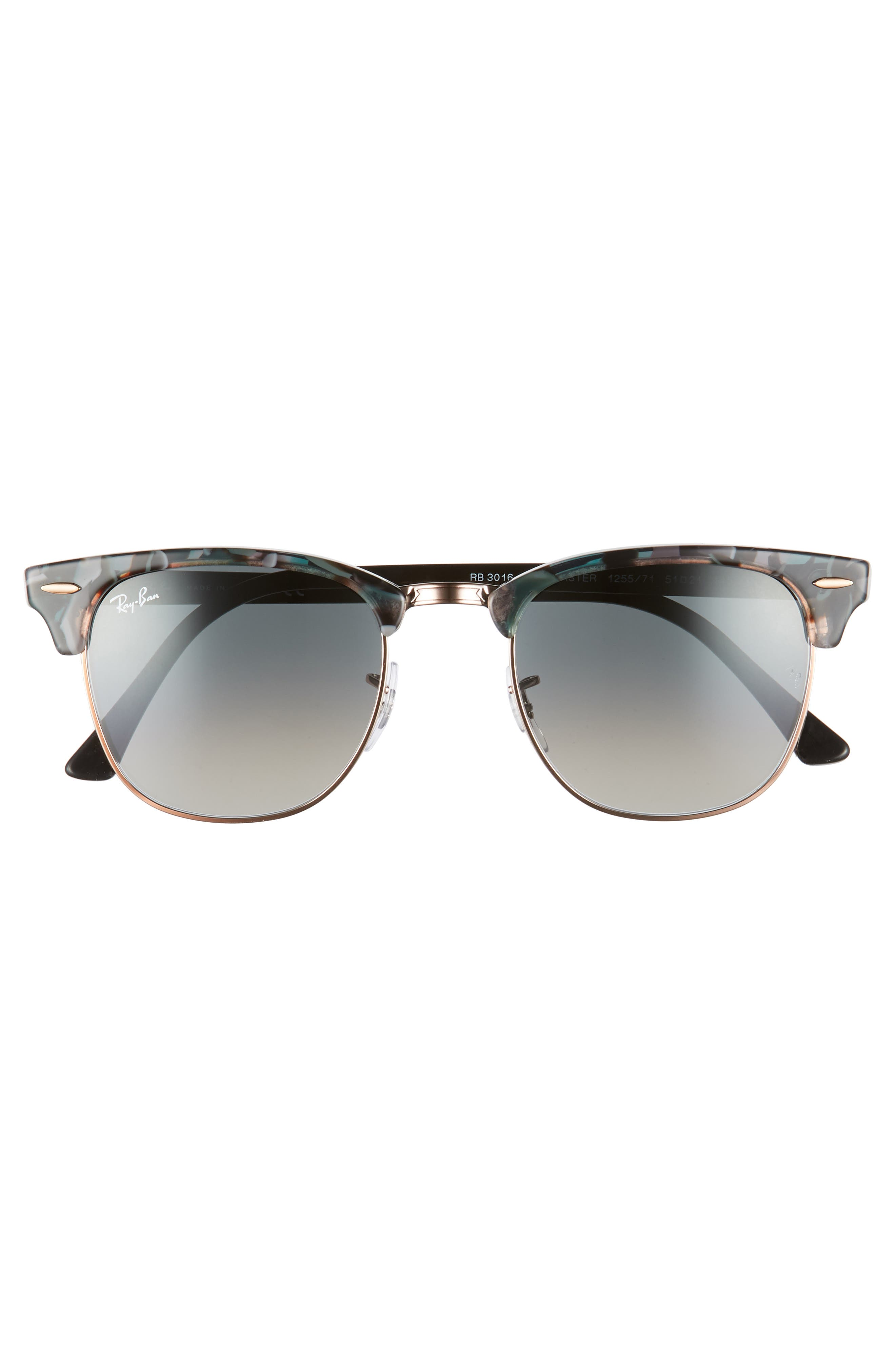 RAY-BAN, Clubmaster 51mm Gradient Sunglasses, Alternate thumbnail 3, color, GREY/ GREEN GRADIENT