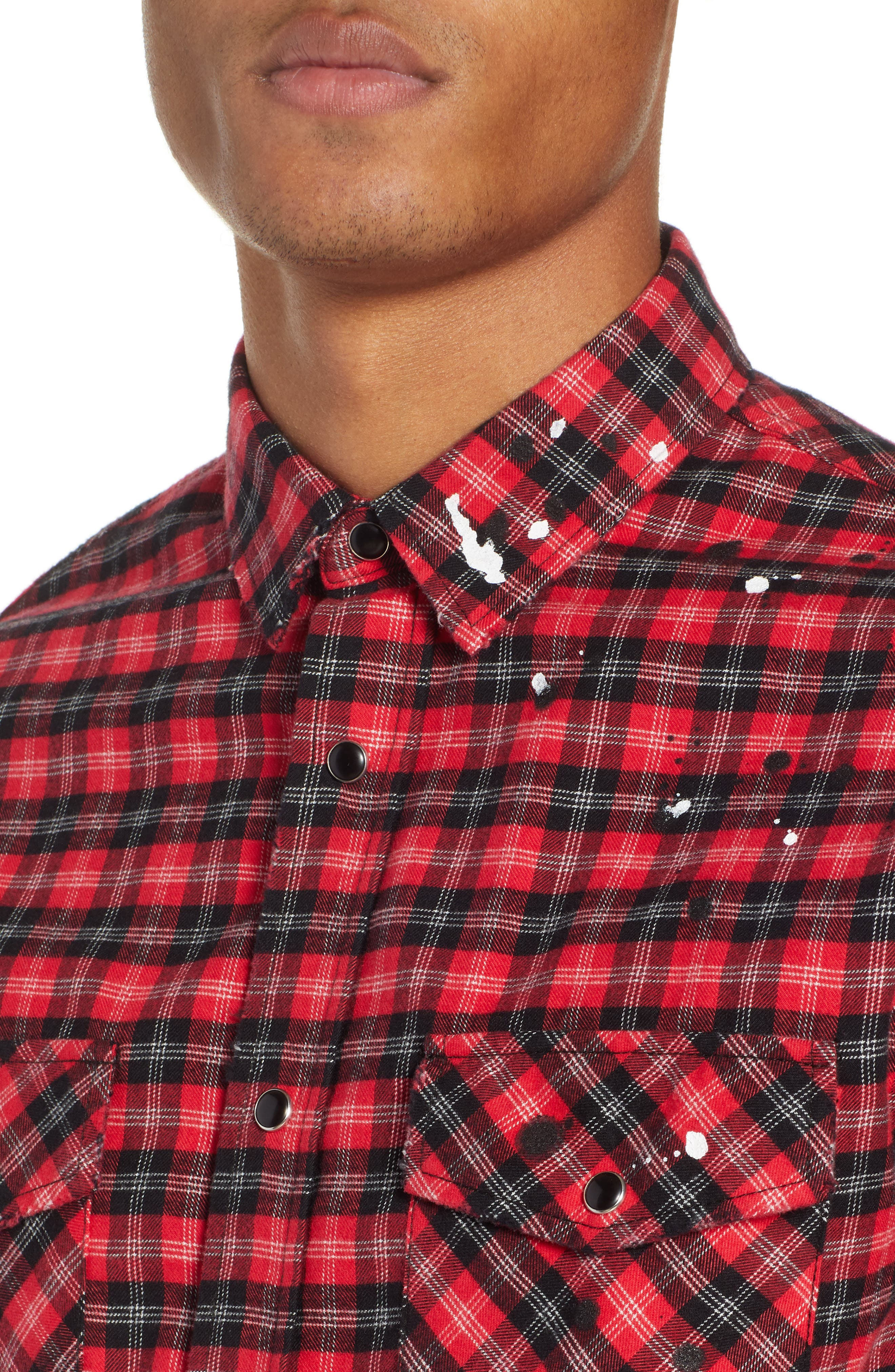 THE KOOPLES, Slim Fit Paint Spatter Flannel Shirt, Alternate thumbnail 2, color, 600