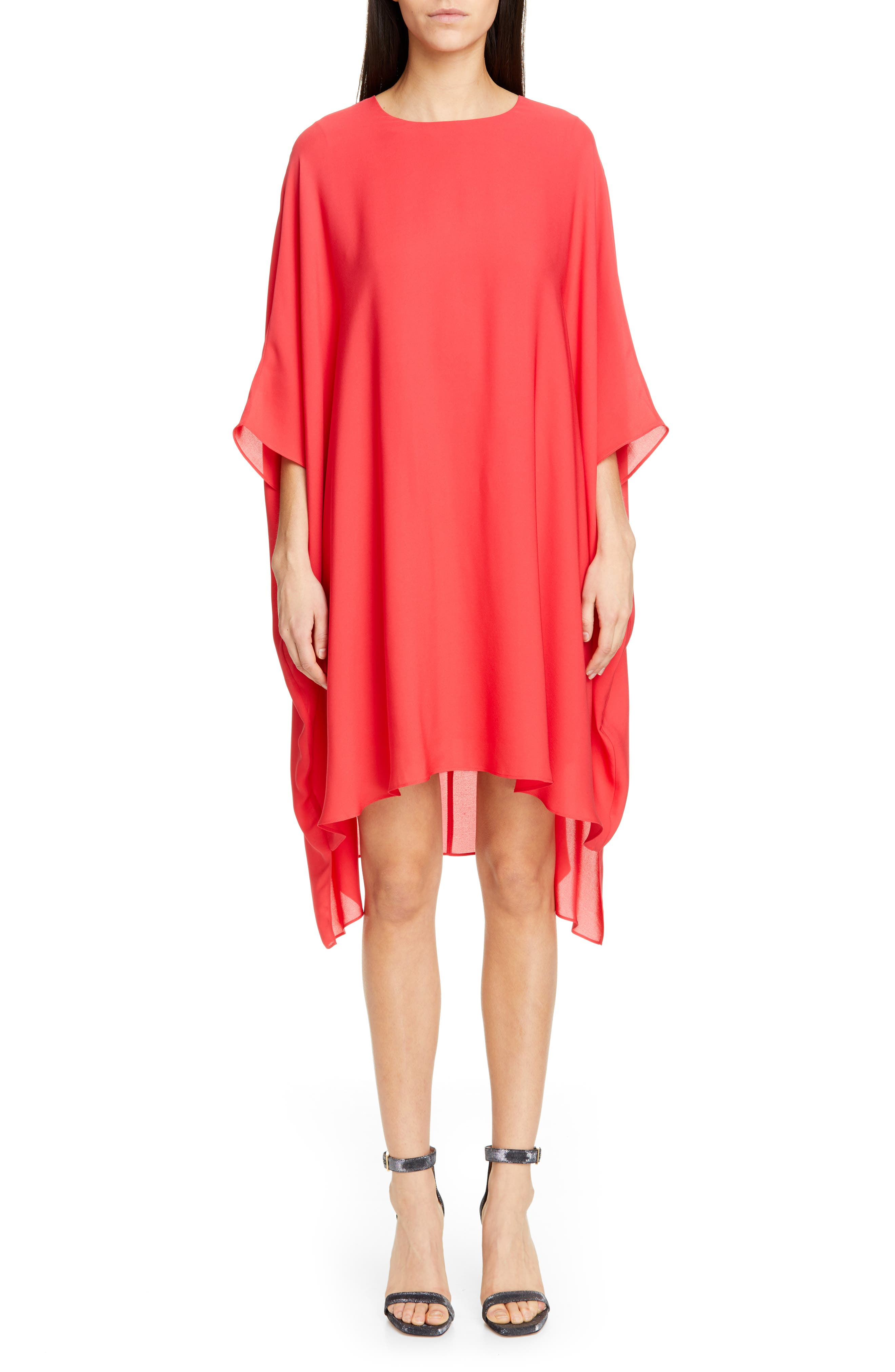 ST. JOHN COLLECTION Draped Satin Silk Georgette Dress, Main, color, CRIMSON