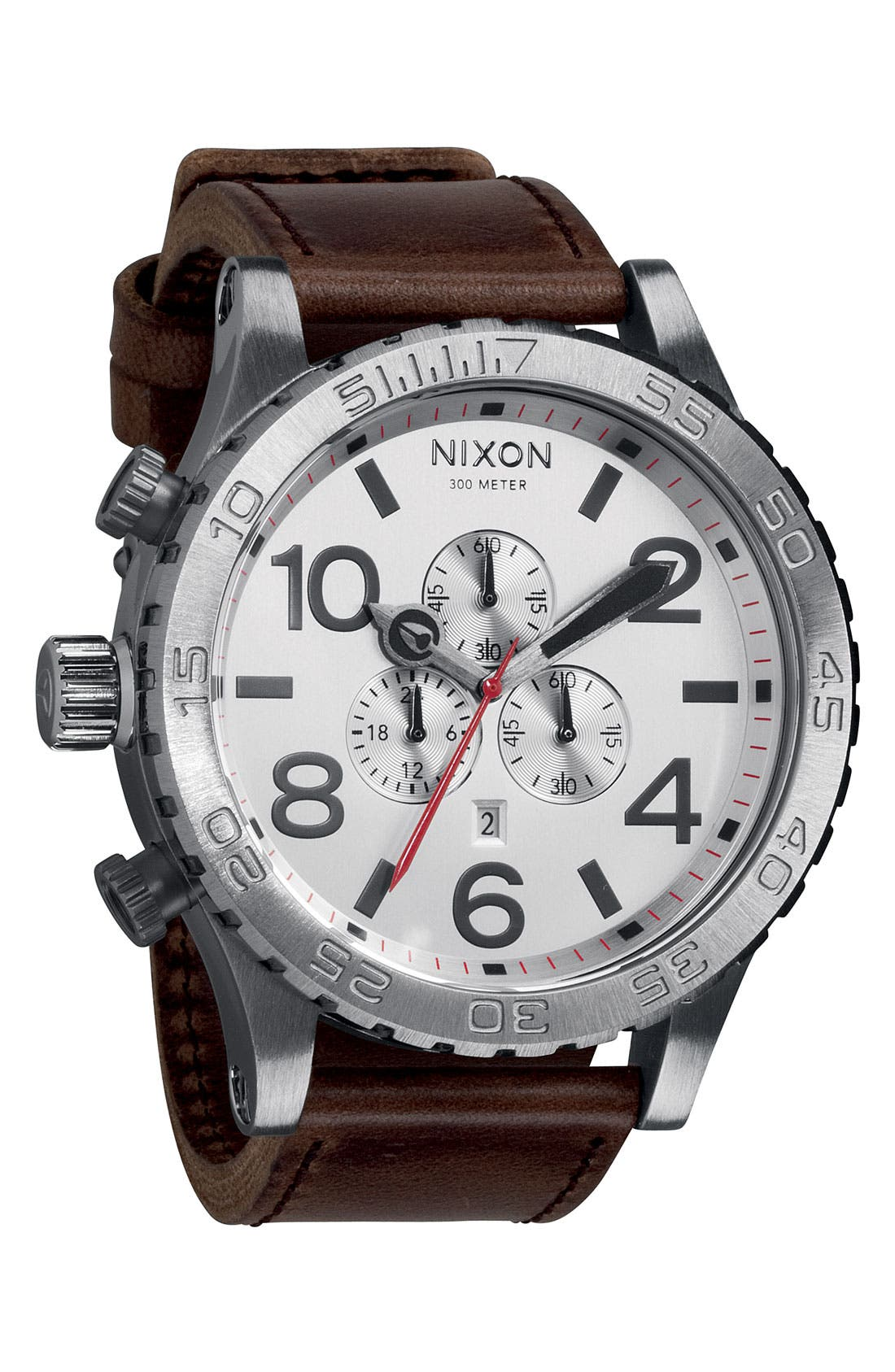 NIXON, 'The 51-30 Chrono' Watch, 51mm, Main thumbnail 1, color, SILVER/ BROWN