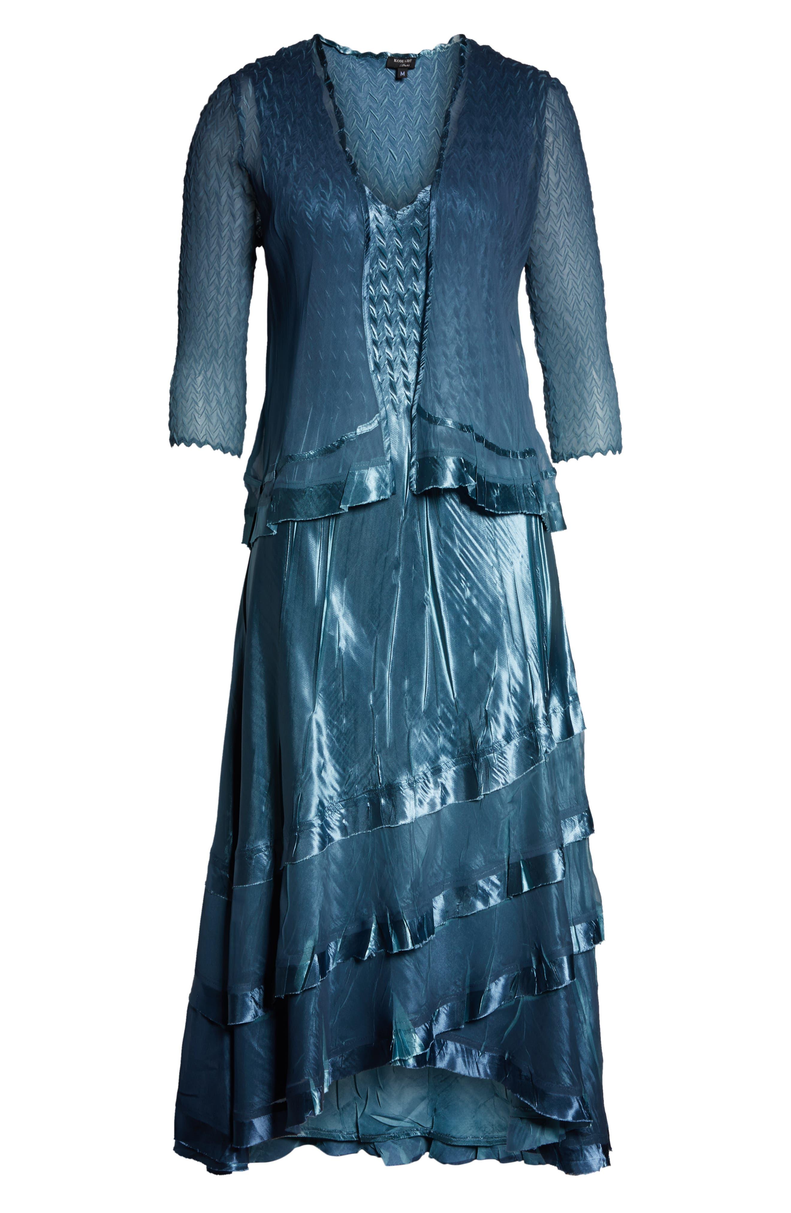 KOMAROV, Asymmetrical Jacket Dress, Alternate thumbnail 6, color, SILVER BLUE NIGHT OMBRE
