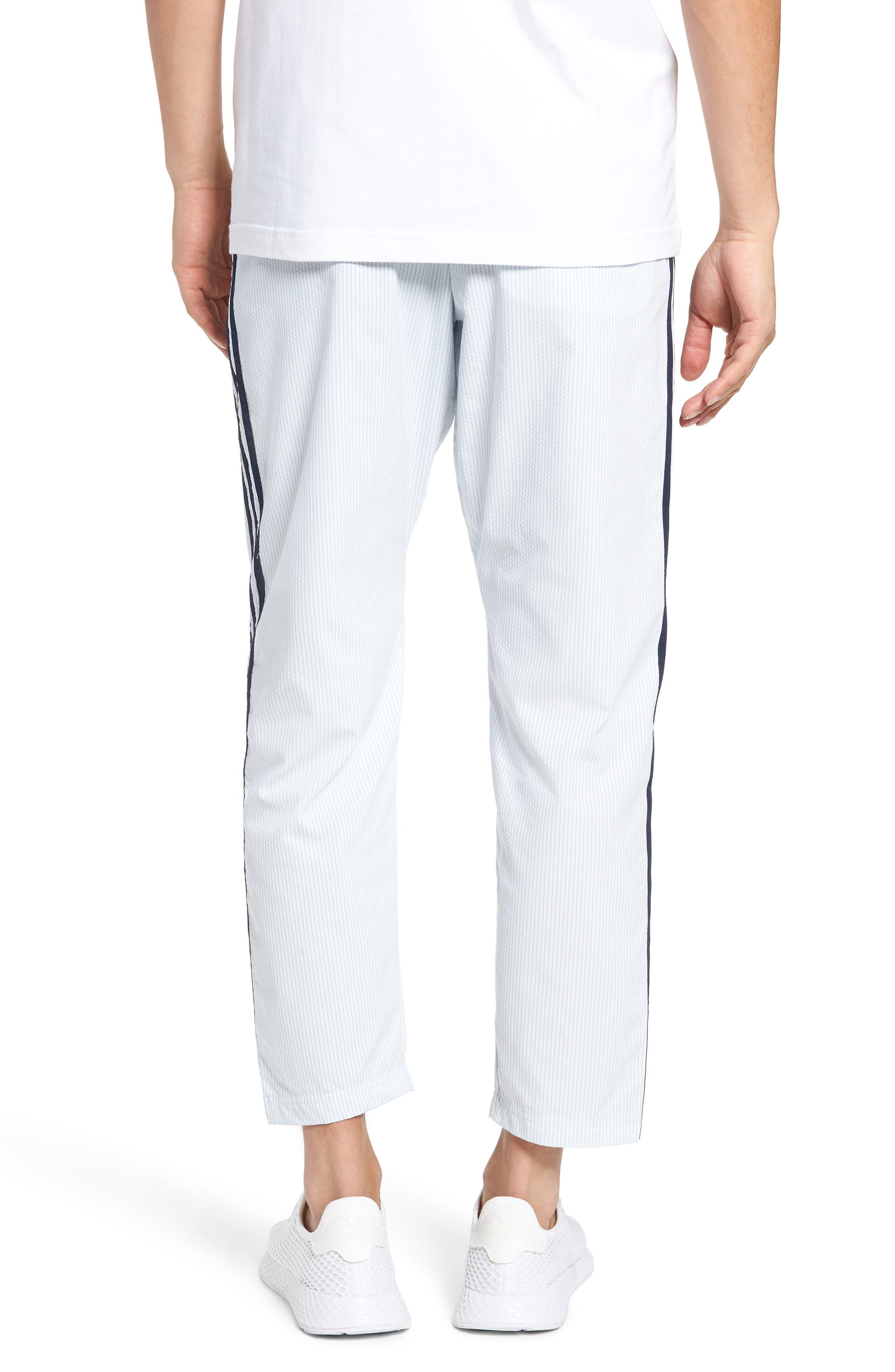 ADIDAS ORIGINALS, Seersucker Track Pants, Alternate thumbnail 2, color, ASH GREY/ WHITE