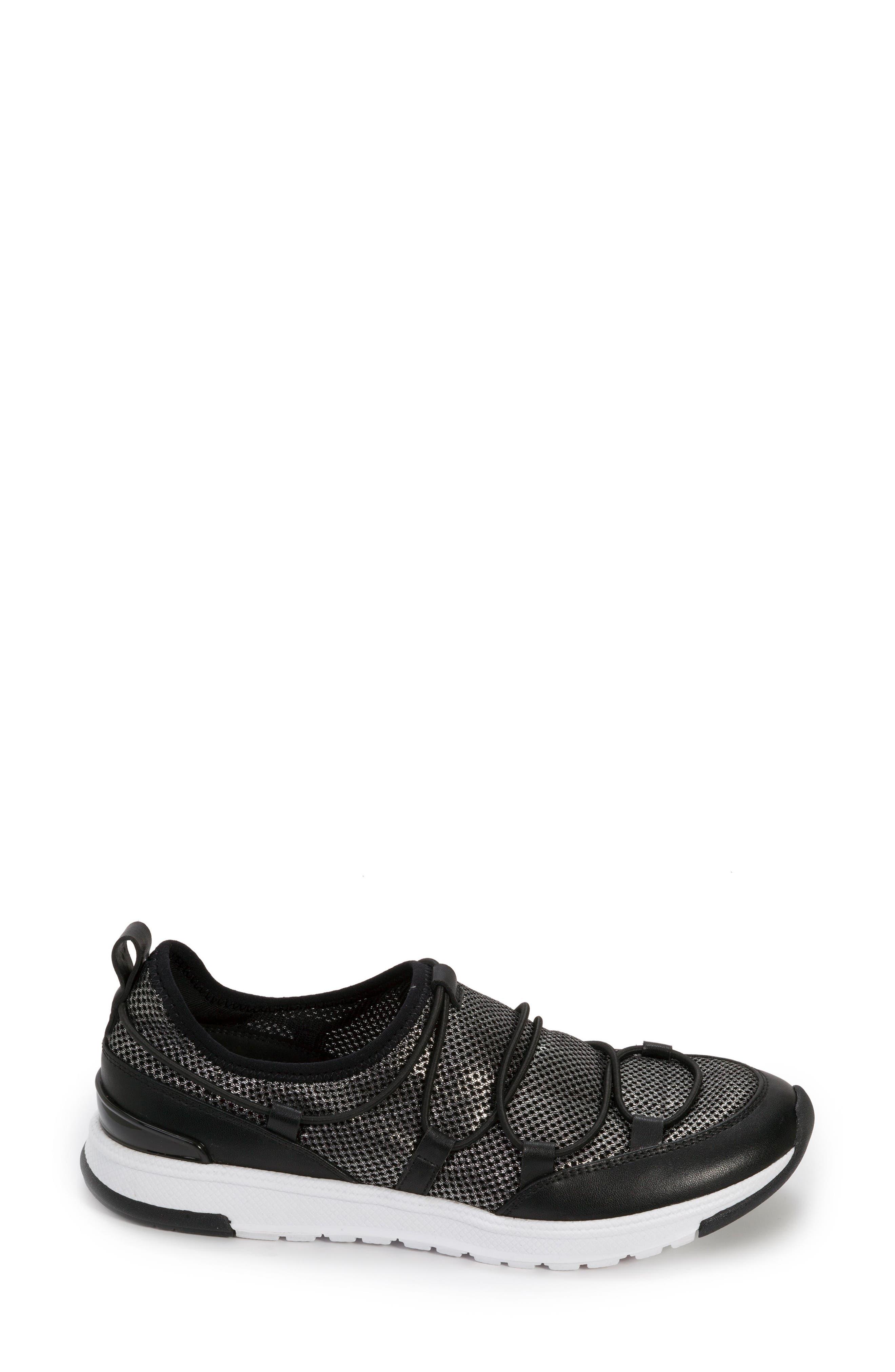 FOOT PETALS, Bree Sneaker, Alternate thumbnail 3, color, BLACK/ PEWTER