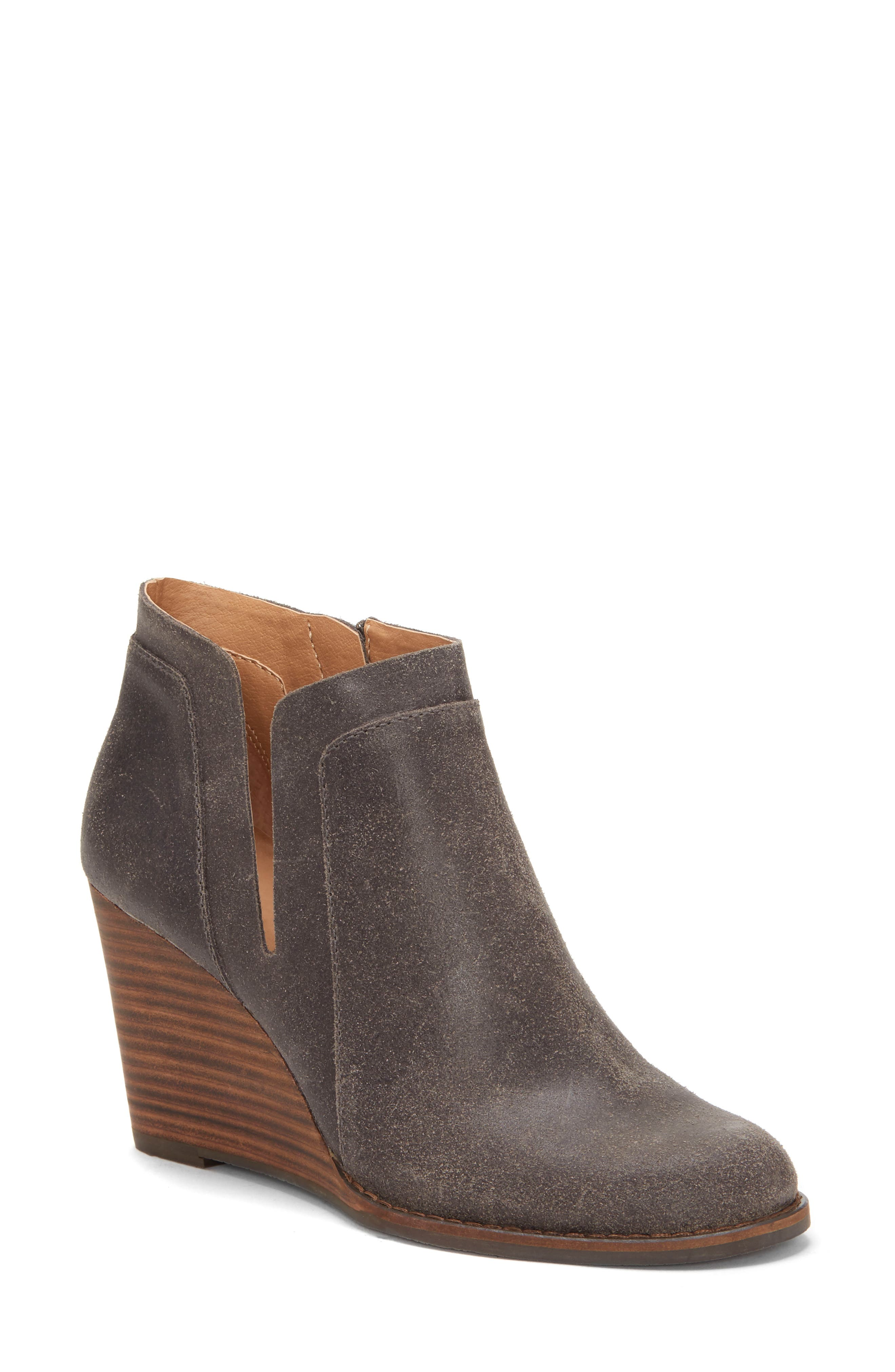 LUCKY BRAND, Yabba Wedge Bootie, Main thumbnail 1, color, STORM NUBUCK