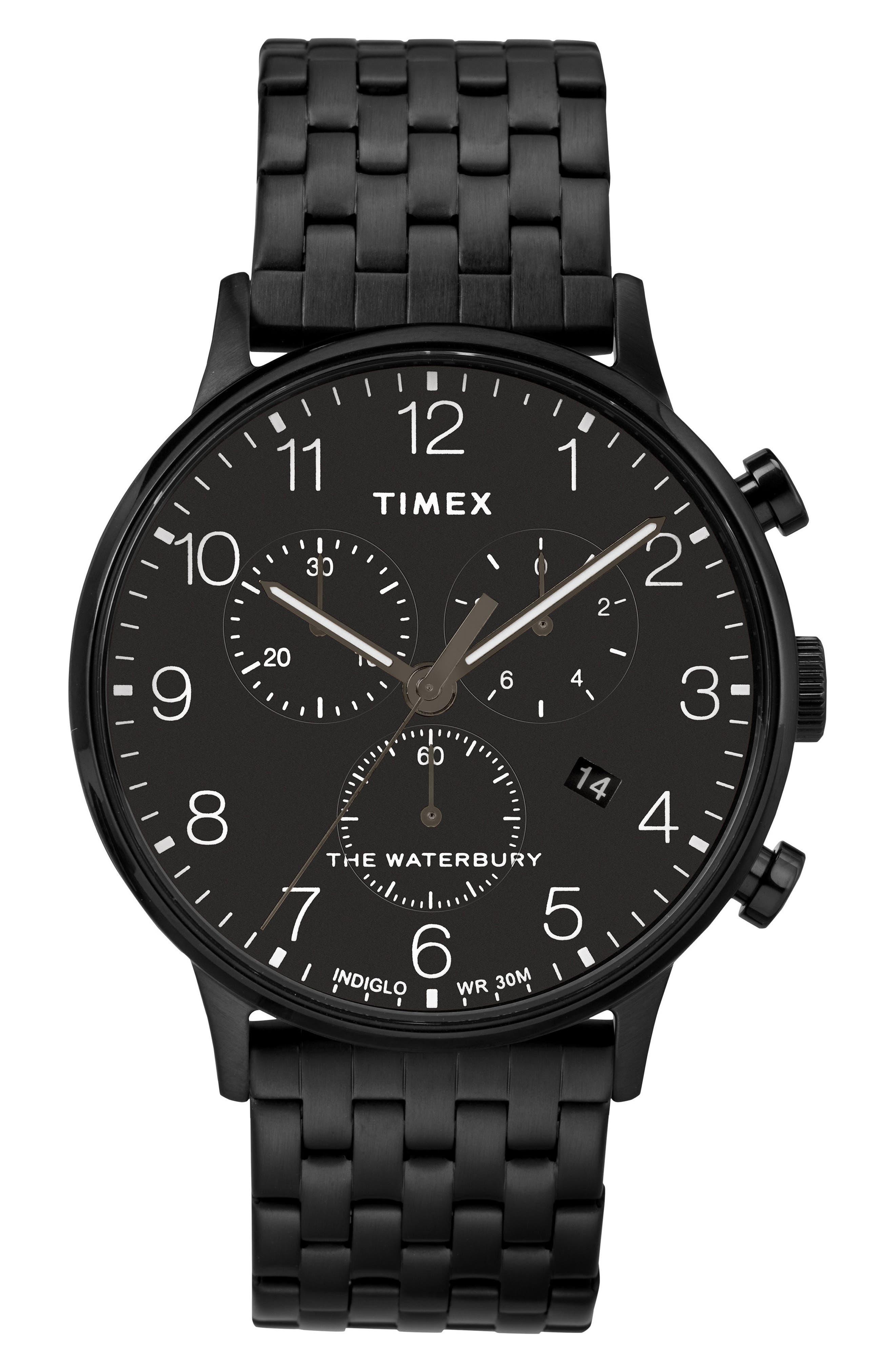 TIMEX<SUP>®</SUP>, Waterbury Chronograph Bracelet Watch, 40mm, Main thumbnail 1, color, BLACK