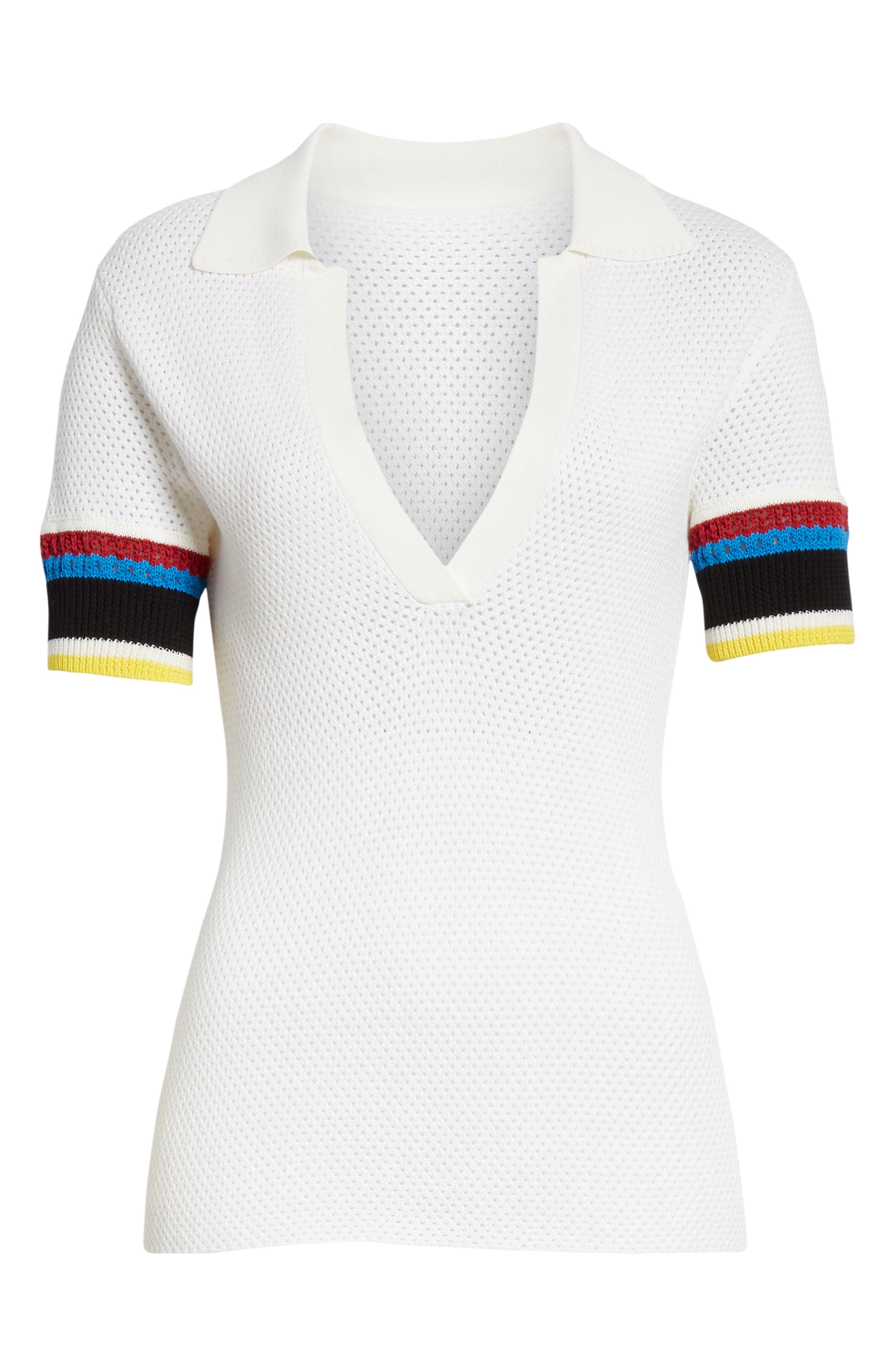 PROENZA SCHOULER, PSWL Stripe Sleeve Polo Top, Alternate thumbnail 6, color, OFF WHITE