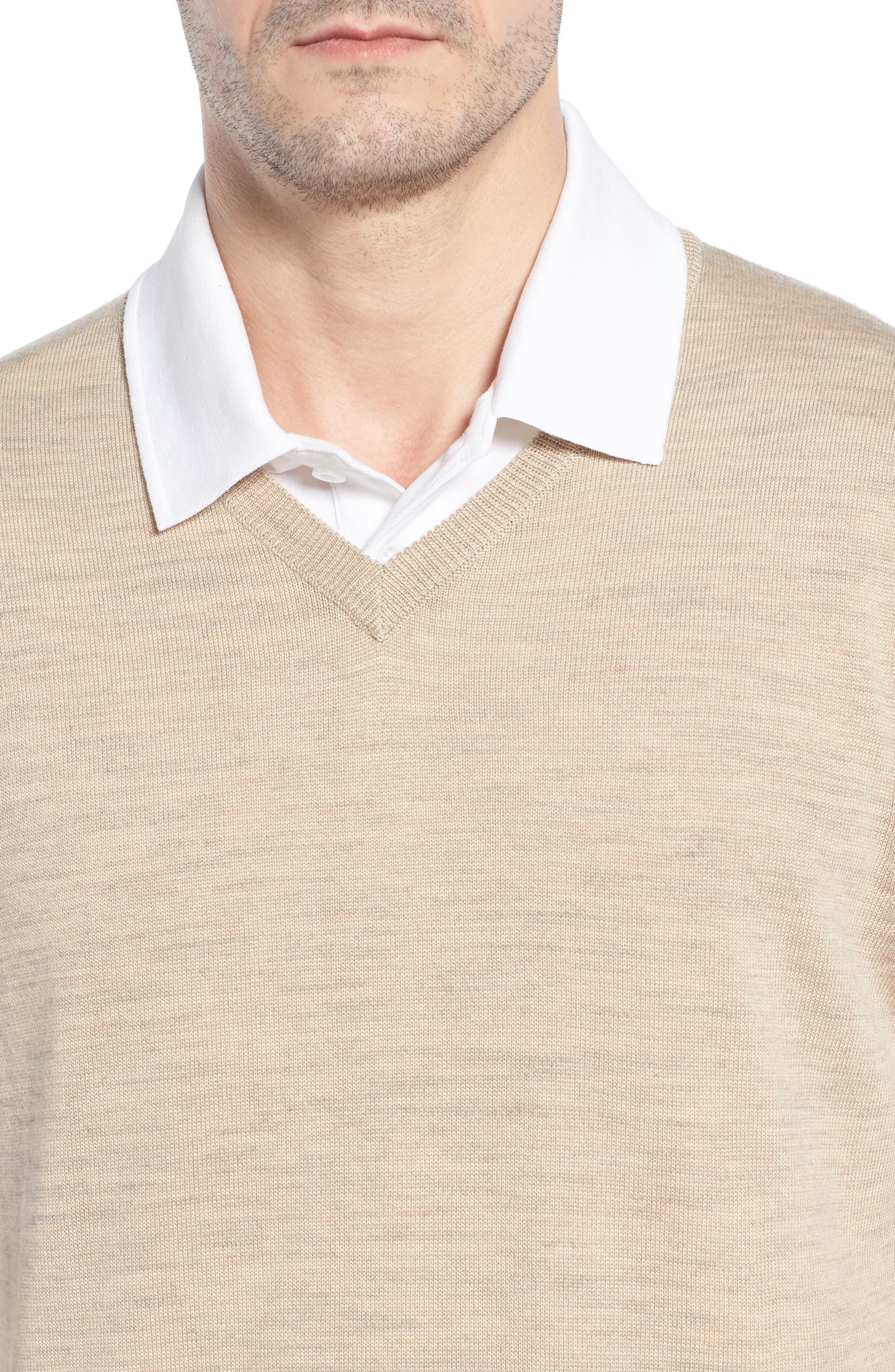 CUTTER & BUCK, 'Douglas' Merino Wool Blend V-Neck Sweater Vest, Alternate thumbnail 4, color, SAND HEATHER