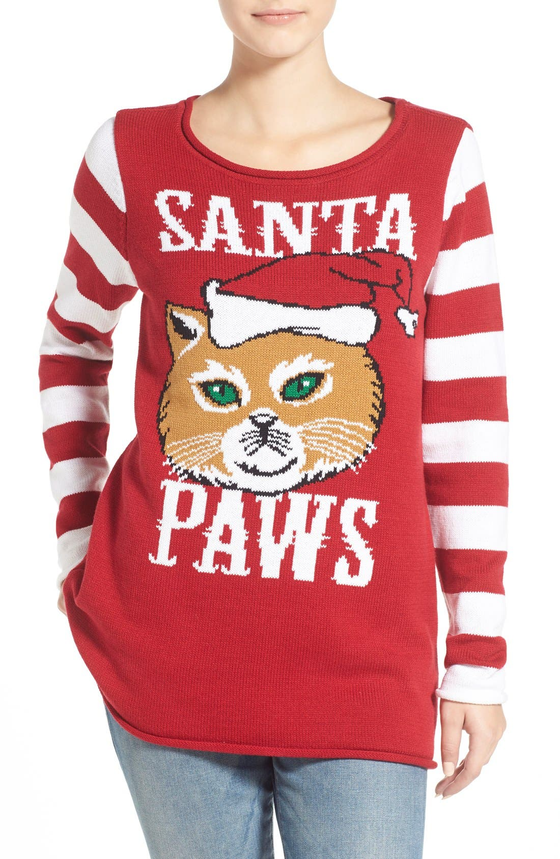 UGLY CHRISTMAS SWEATER, 'Santa Paws' Sweater, Main thumbnail 1, color, 610