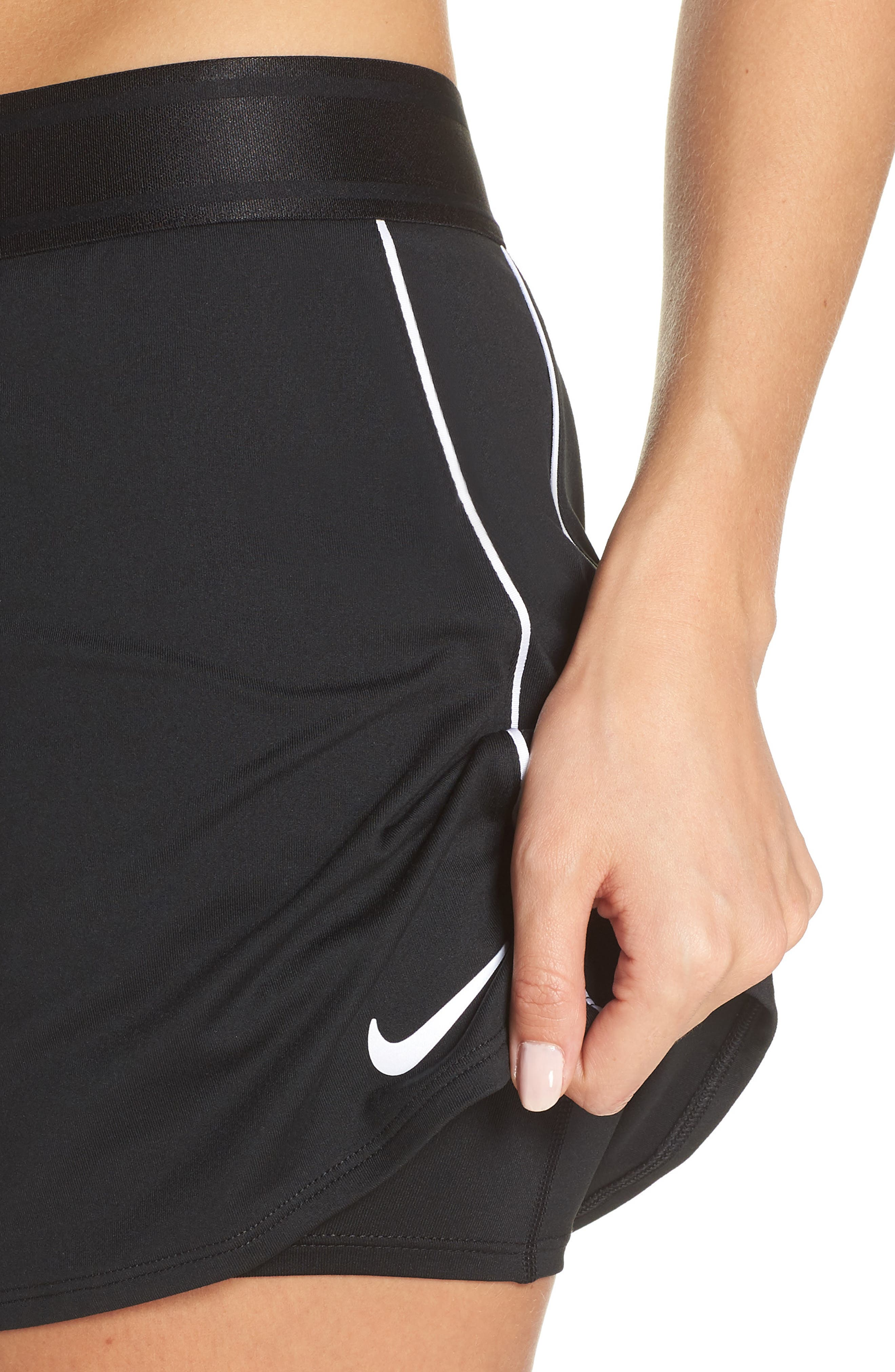 NIKE, Court Dry-FIT Tennis Skirt, Alternate thumbnail 5, color, BLACK/ WHITE/ WHITE/ BLACK