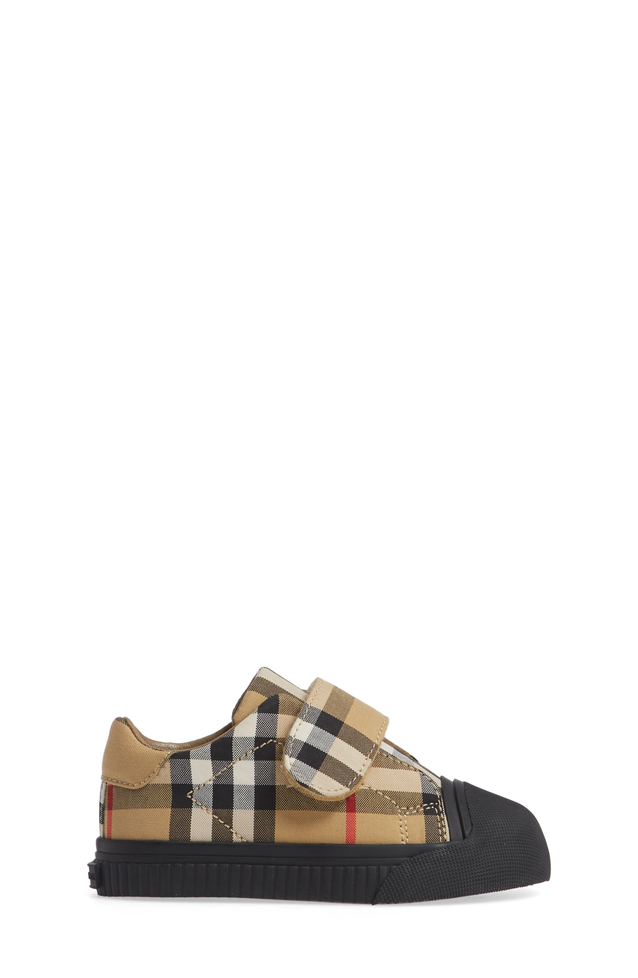 BURBERRY, Beech Check Sneaker, Alternate thumbnail 3, color, ANTIQUE YELLOW/ BLACK