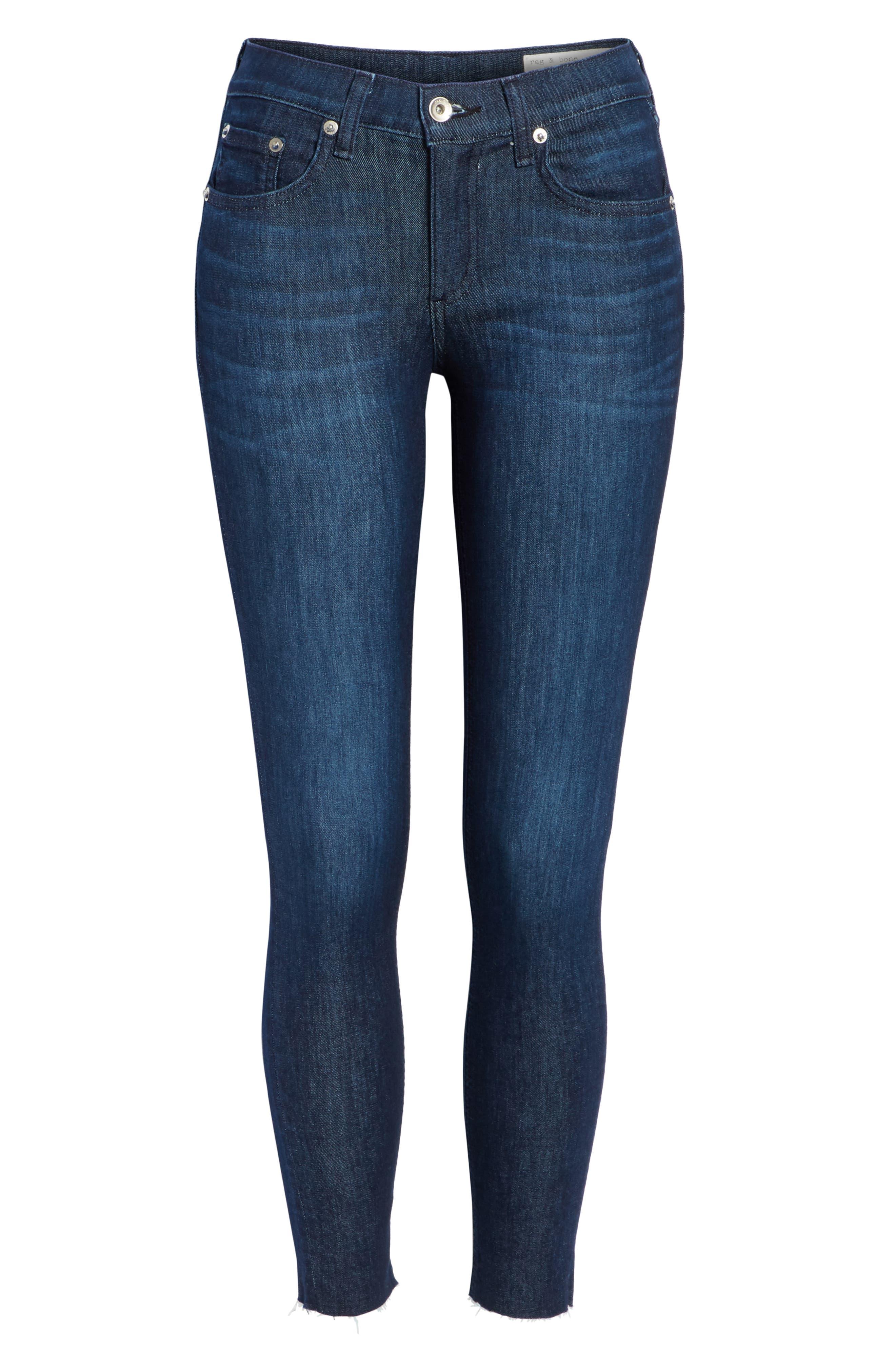 RAG & BONE, Raw Hem Ankle Skinny Jeans, Alternate thumbnail 7, color, TONAL RIVER
