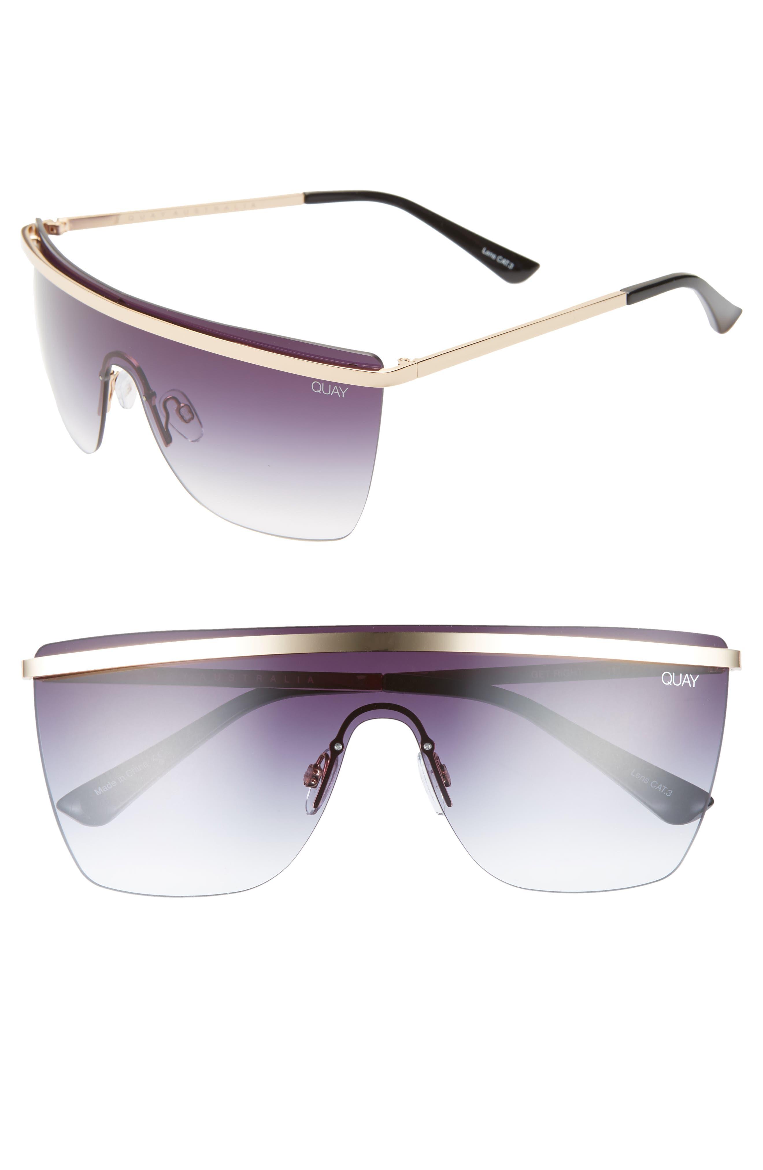 QUAY AUSTRALIA x JLO Get Right 54mm Flat Top Shield Sunglasses, Main, color, GOLD/ BLACK FADE