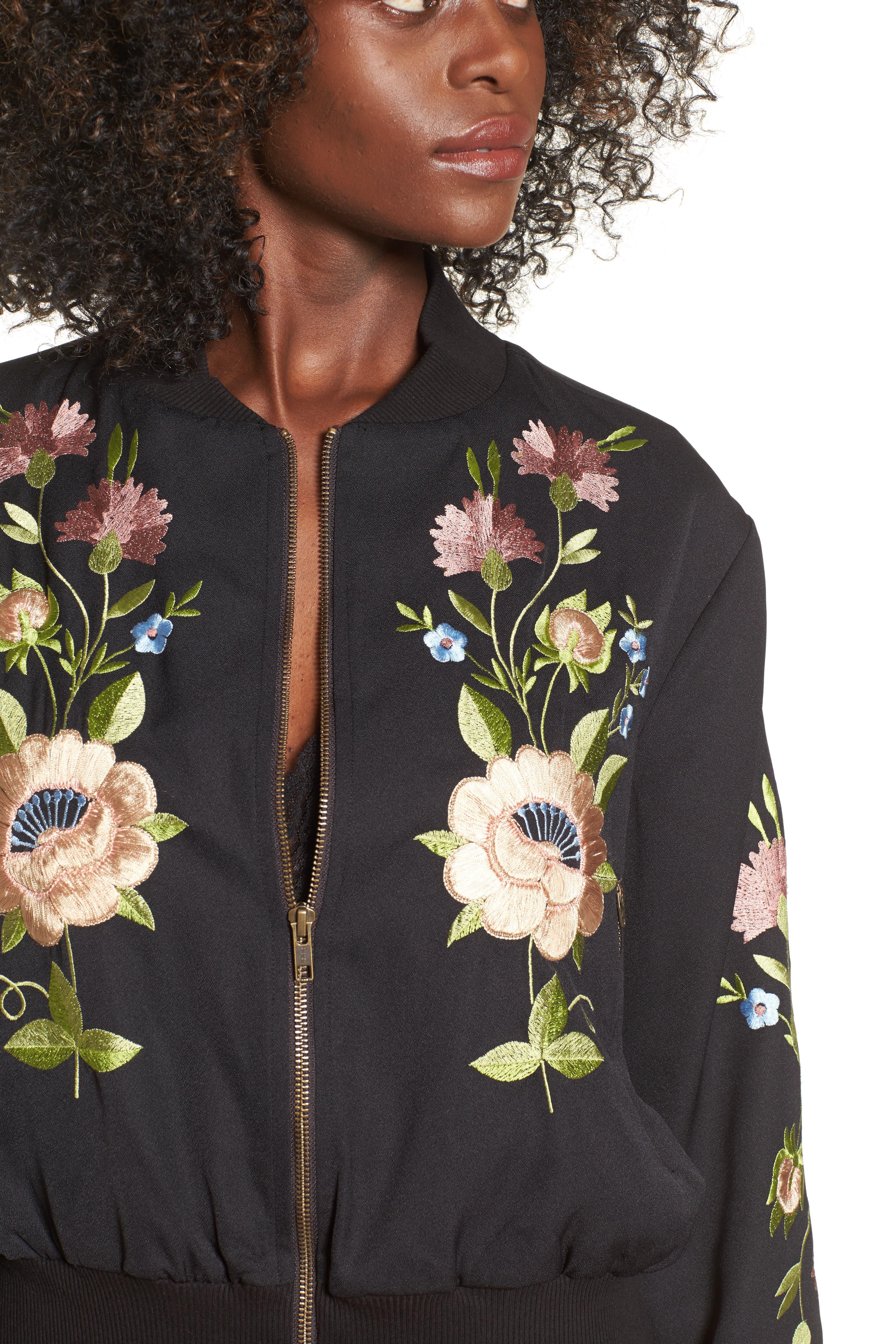 GLAMOROUS, Floral Embroidered Bomber Jacket, Alternate thumbnail 4, color, 001