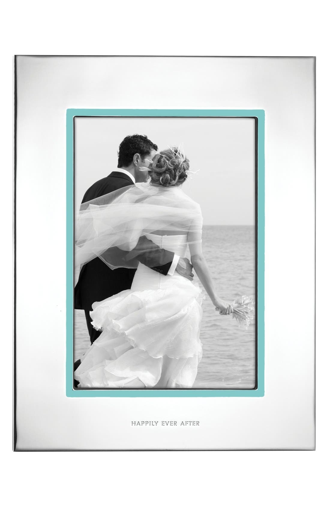 KATE SPADE NEW YORK take the cake picture frame, Main, color, SILVER/ TURQUOISE