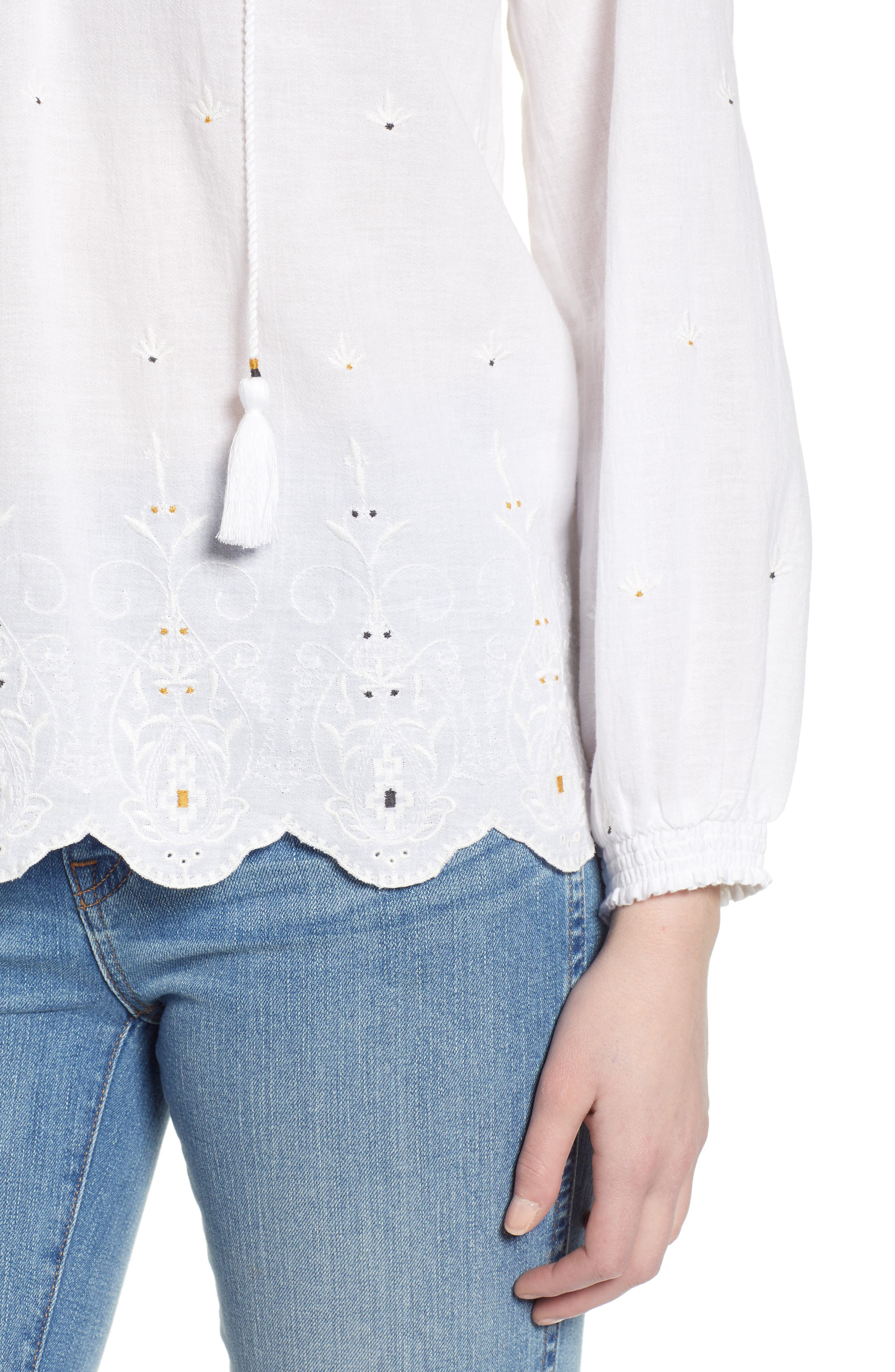 LUCKY BRAND, Eyelet Peasant Top, Alternate thumbnail 4, color, LUCKY WHITE