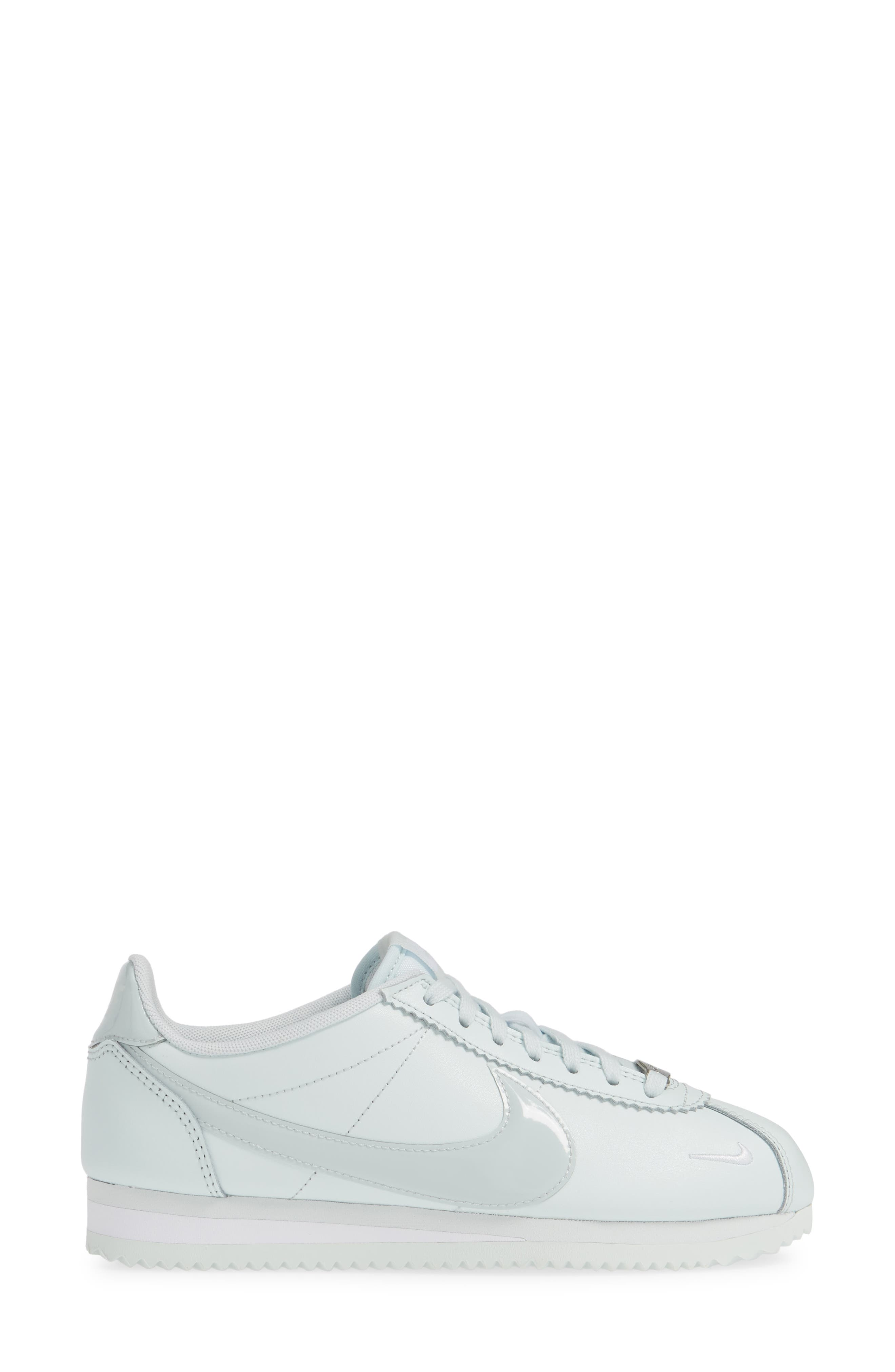 NIKE, Classic Cortez Premium XLV Sneaker, Alternate thumbnail 3, color, BARELY GREY/ WHITE