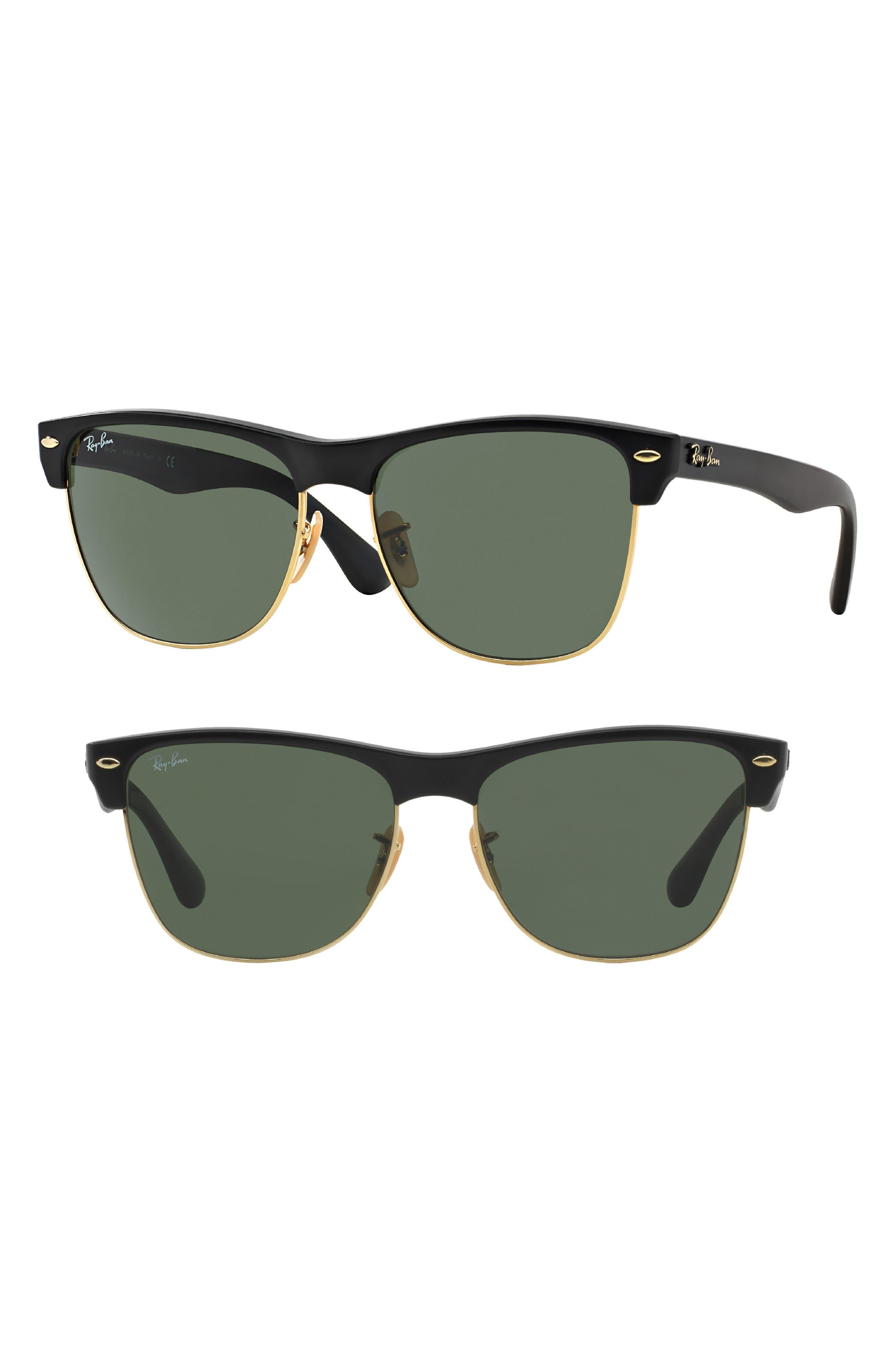 RAY-BAN Highstreet 57mm Sunglasses, Main, color, DEMI BLACK/ GREEN SOLID