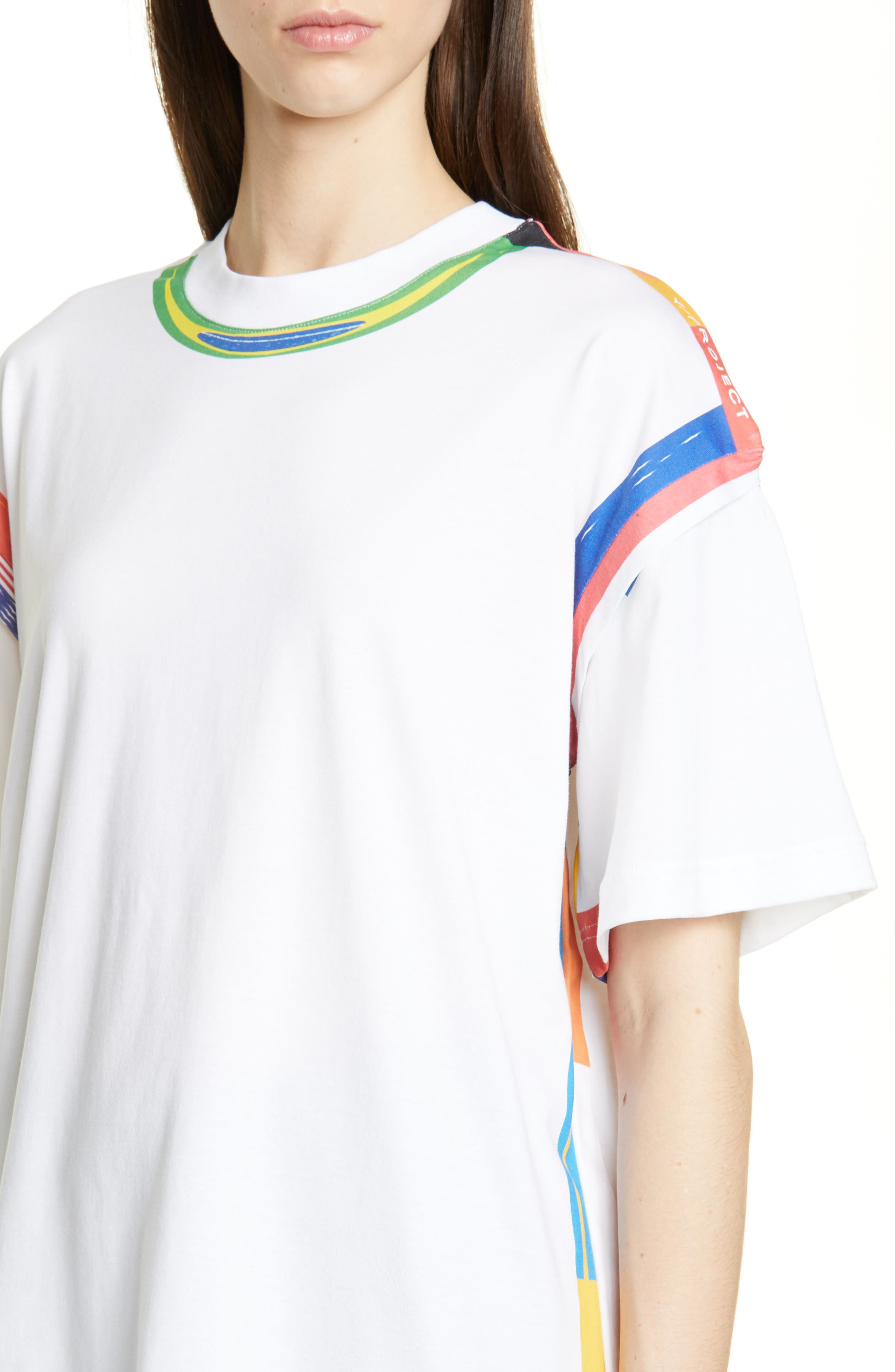 Y/PROJECT, Flag Print Tee, Alternate thumbnail 4, color, WHITE